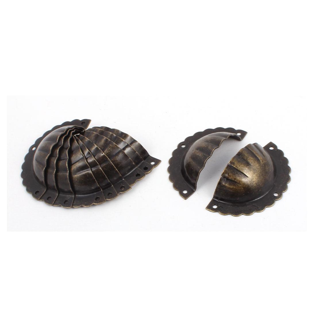 Drawer Retro Style Shell Shaped Pull Handle Bronze Tone 71mmx37mmx20mm 10pcs