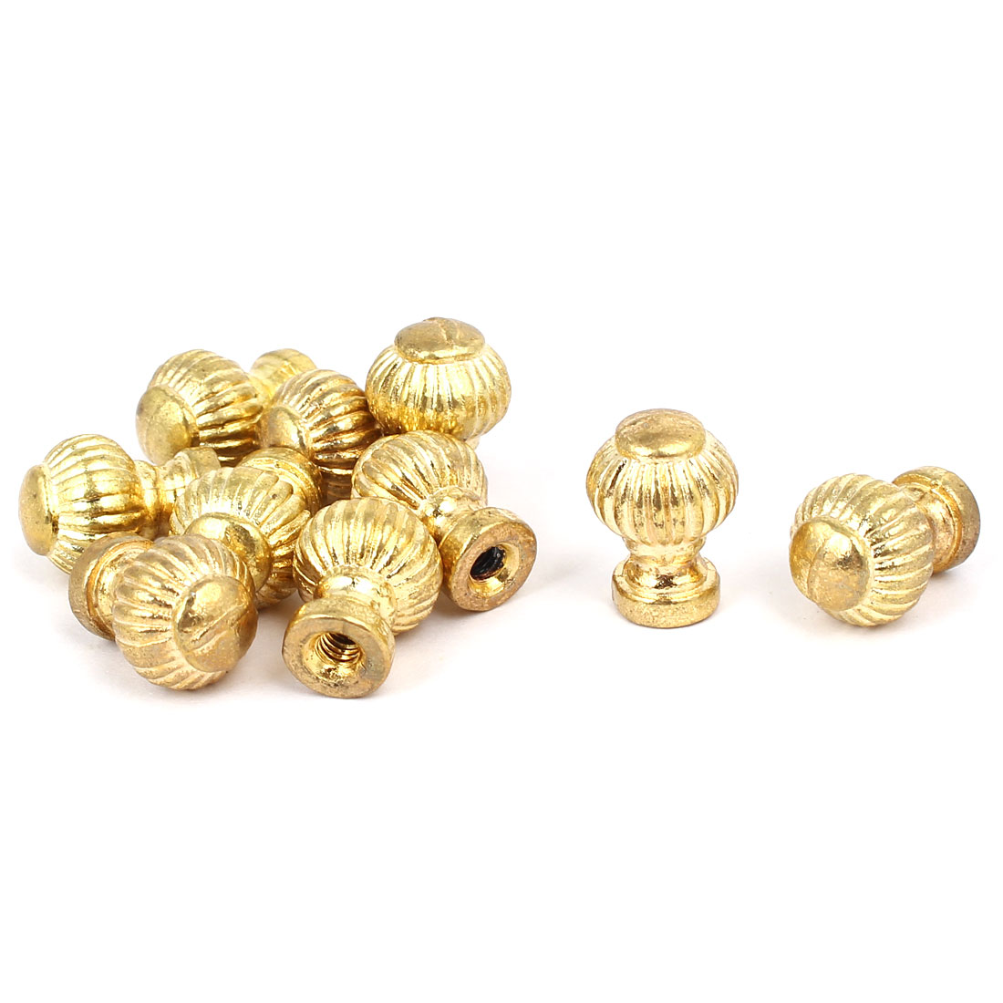 Wood Jewelry Box Metal Round Base Single Hole Pull Knob Handle Gold Tone 10pcs