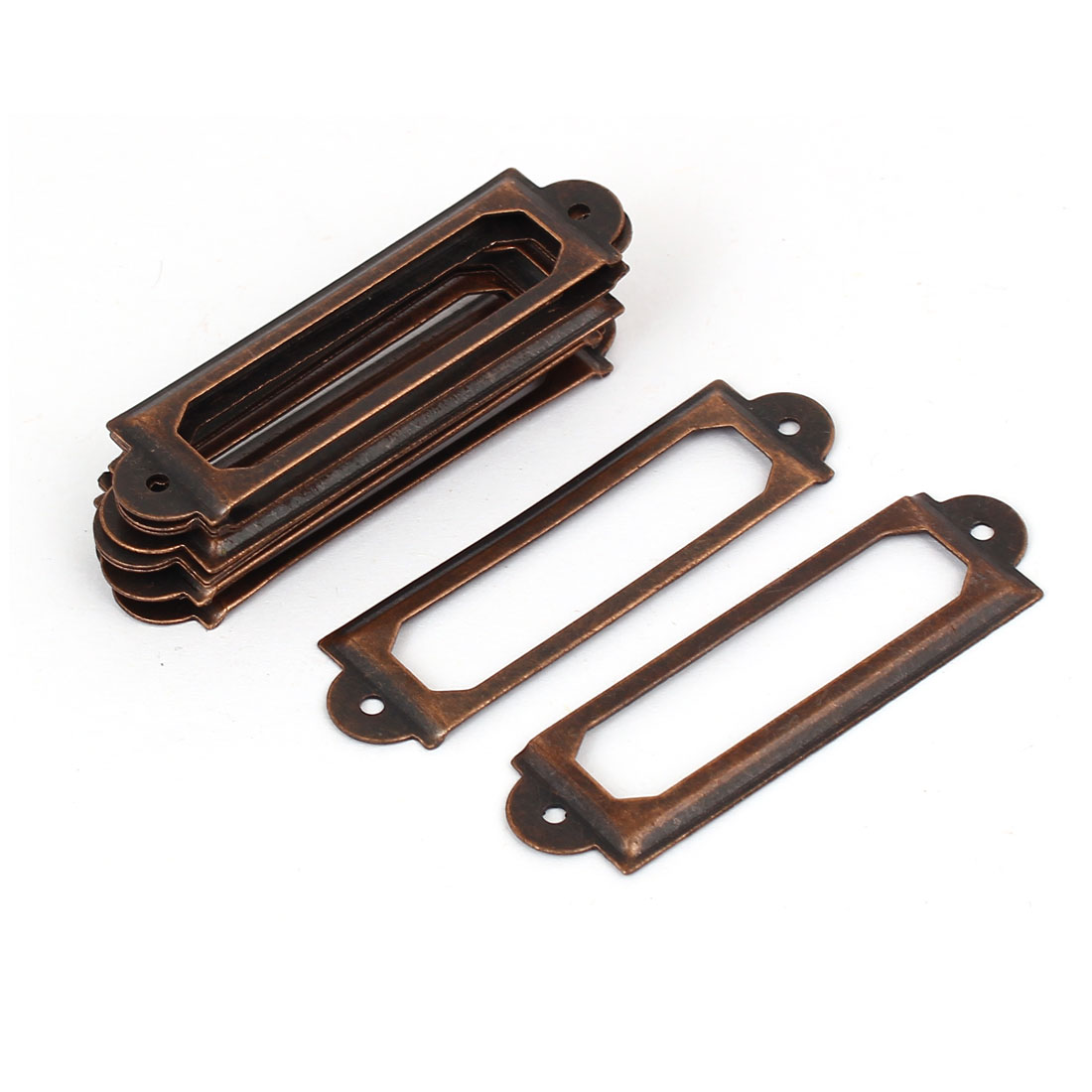 Library File Drawer Tag Lable Holder Pull Handle Copper Tone 60mm Length 10pcs