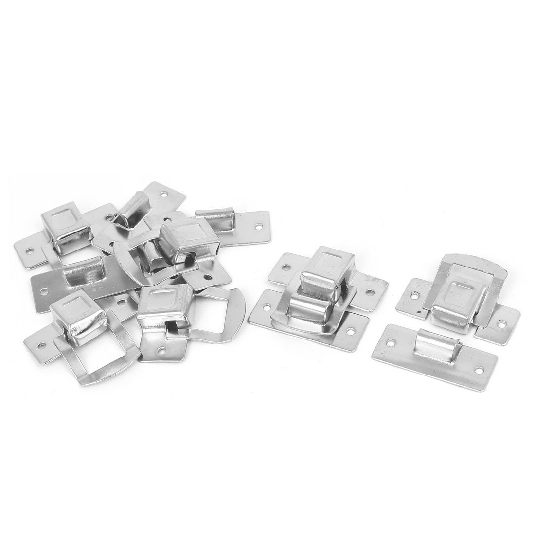 Toolbox Wooden Case Box Iron Toggle Latch Hasp Silver Tone 34mmx30mmx8mm 6pcs
