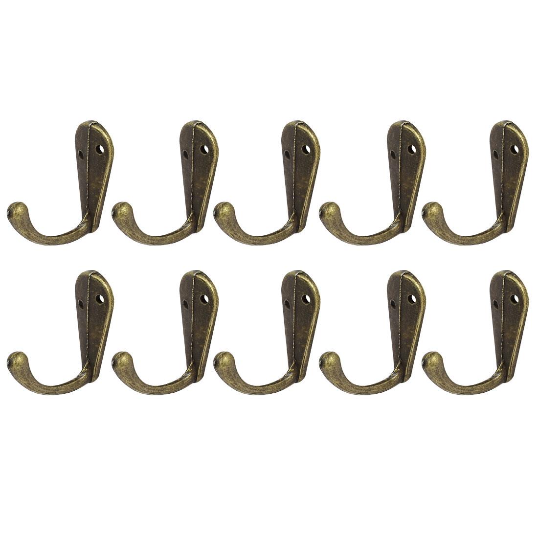 35mmx13mmx30mm Vintage Style Wall Mounted Single Hook Hanger Bronze Tone 10pcs
