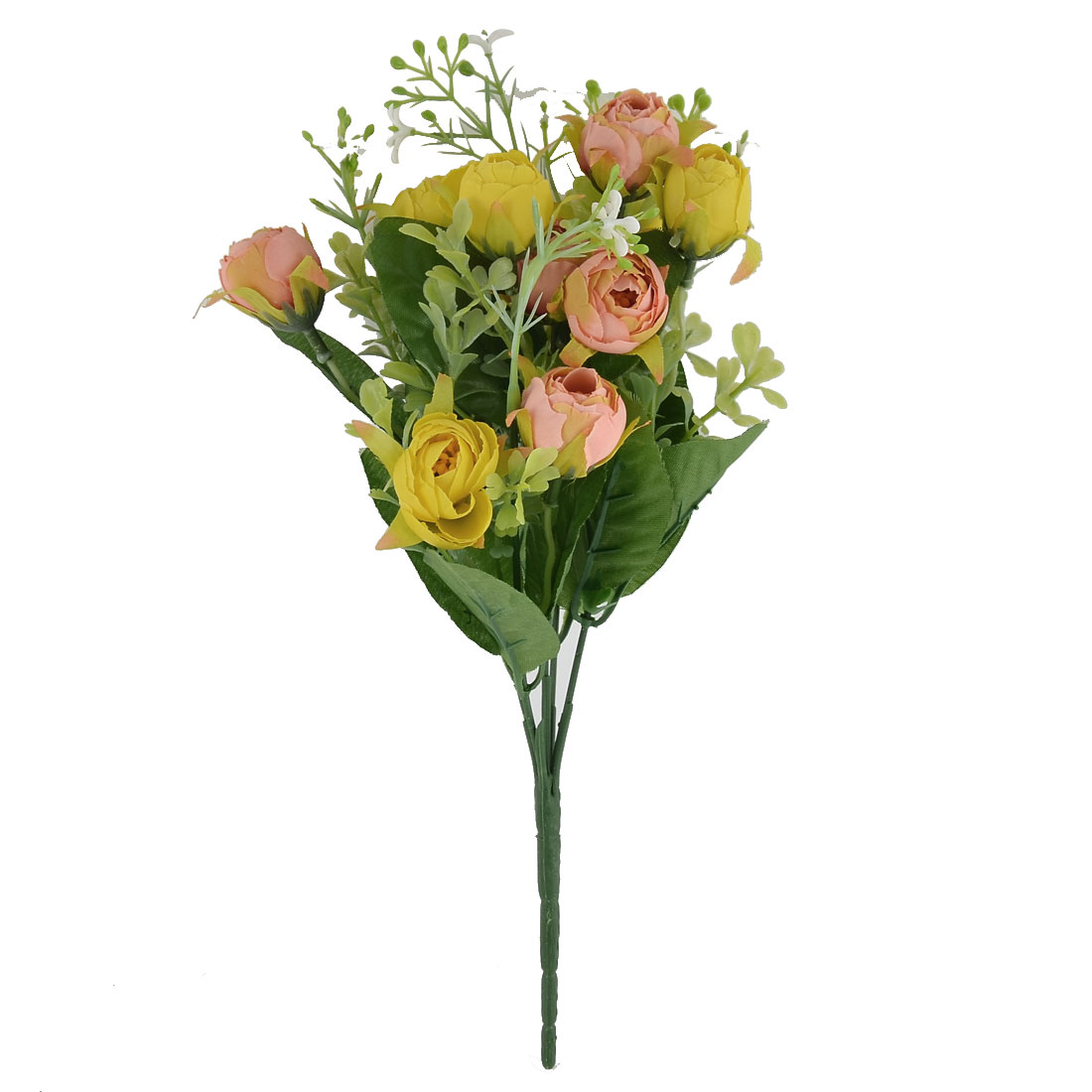 Wedding Banquet Table Decorating 10 Heads Camellia Artificial Bouquet Yellow