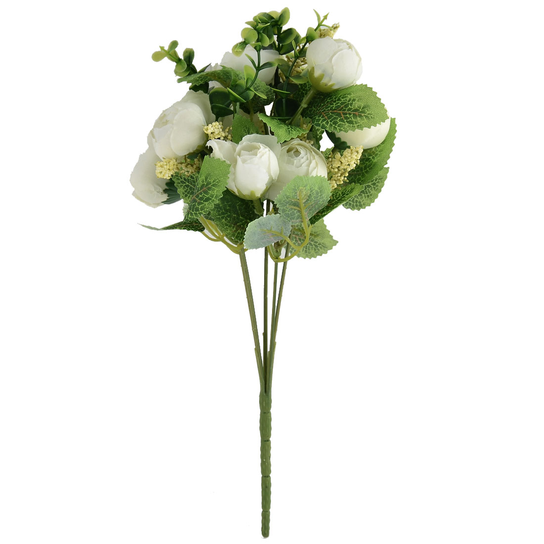 Wedding Banquet Table Decor 10 Heads Camellia Bud Simulation Artificial Bouquet White
