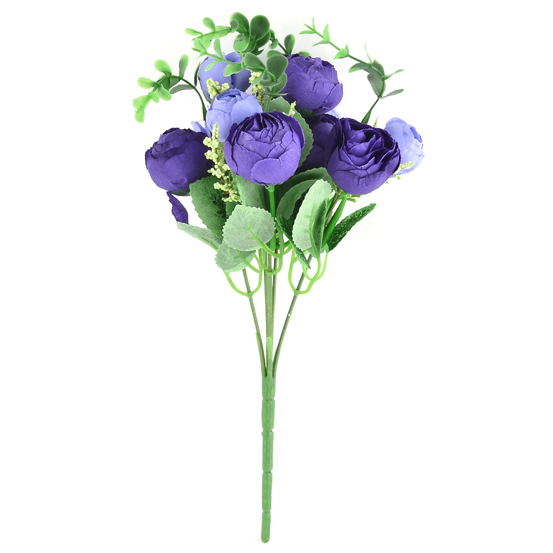 Wedding Banquet Decor 10 Heads Camellia Bud Artificial Bouquet Navy Blue