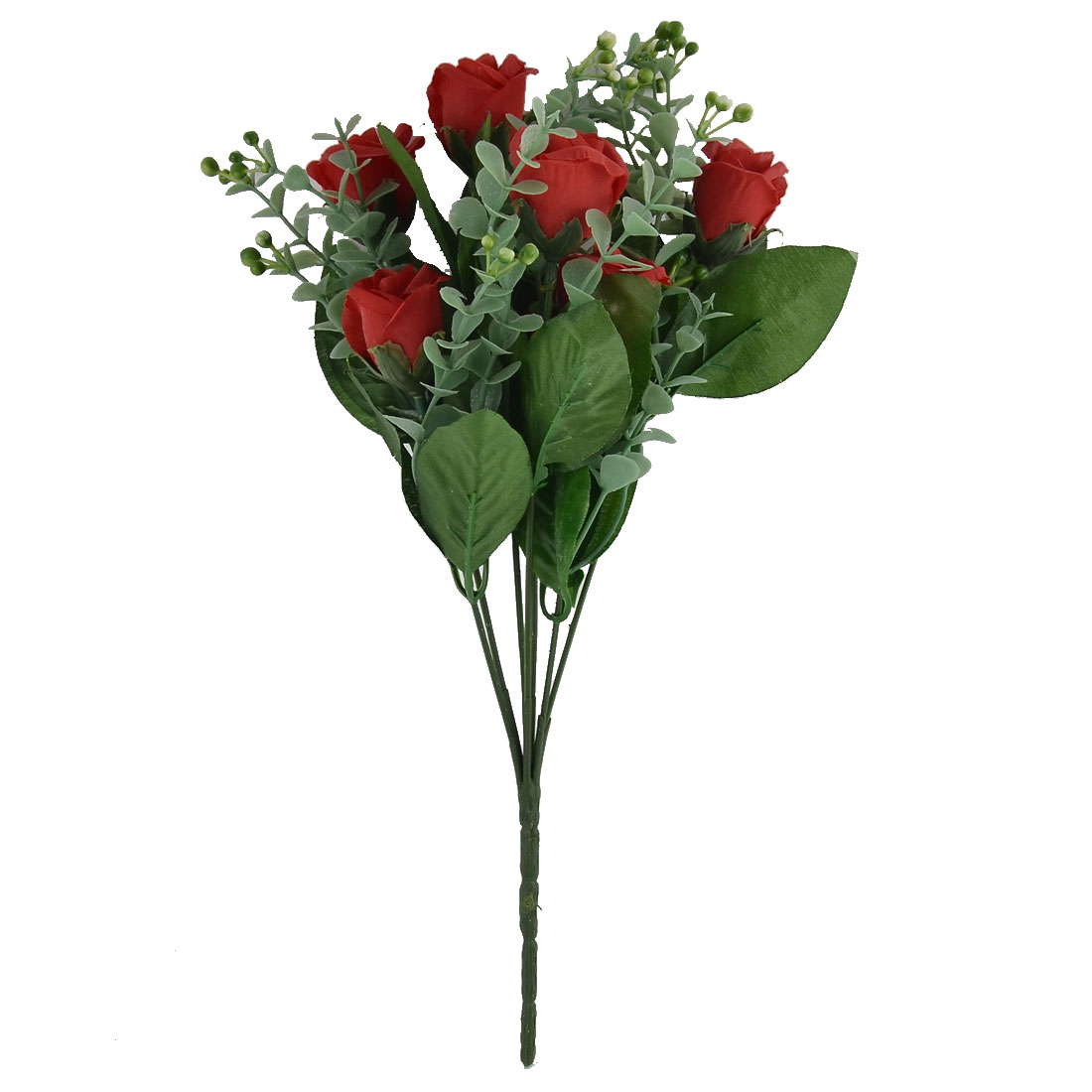 Wedding Banquet Garden Decor 7 Heads Flower Blossom Artificial Rose Bouquet Red