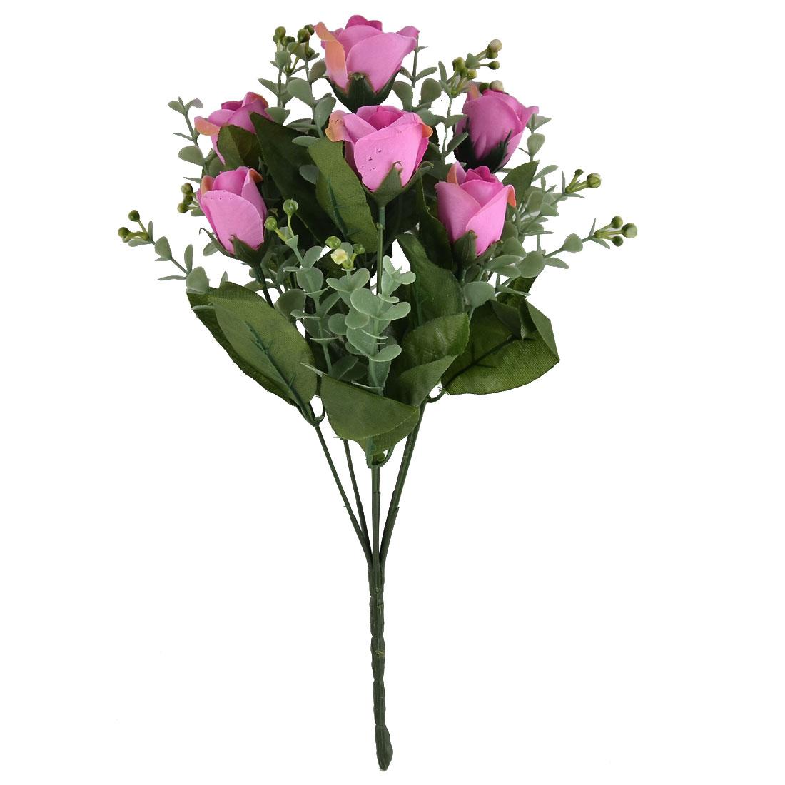 Wedding Living Room Decor 7 Heads Flower Blossom Artificial Rose Bouquet Fuchsia