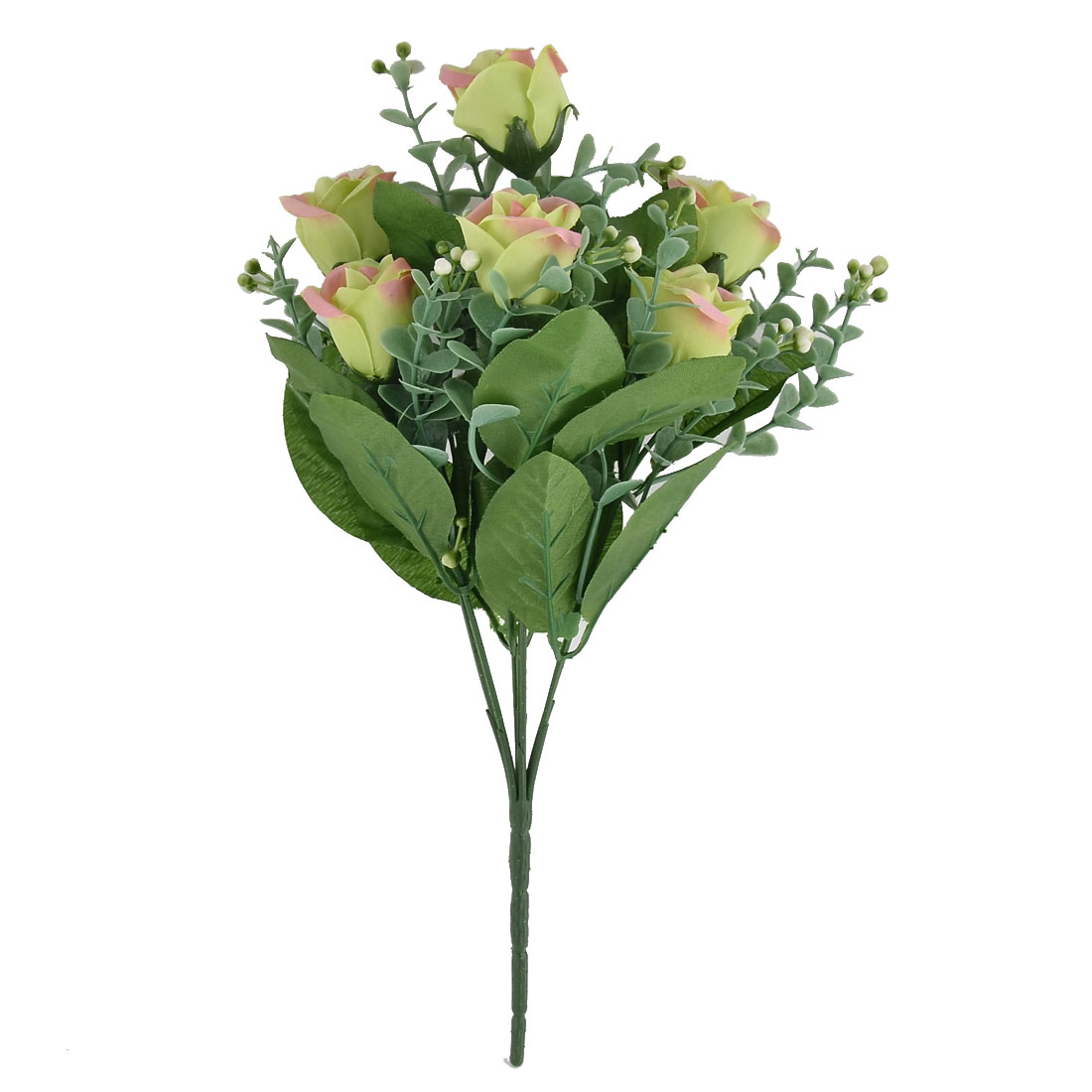 Festival Wedding Garden Ornament 7 Heads Blossom Artificial Rose Bouquet Green