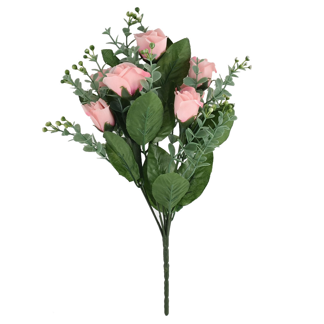 Festival Wedding Adornment 7 Heads Flower Blossom Artificial Rose Bouquet Pink