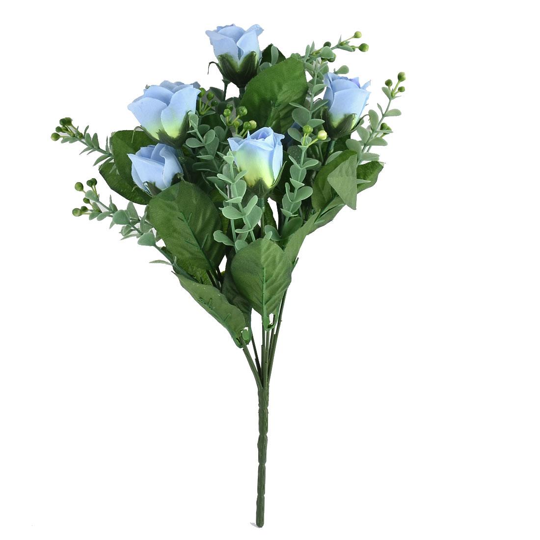 Festival Wedding Decorating 7 Heads Flower Blossom Artificial Rose Bouquet Blue