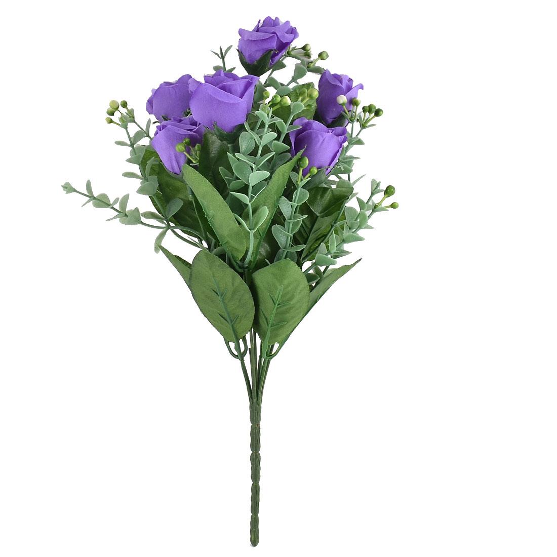 Festival Wedding Garden 7 Heads Flower Blossom Artificial Rose Bouquet Purple