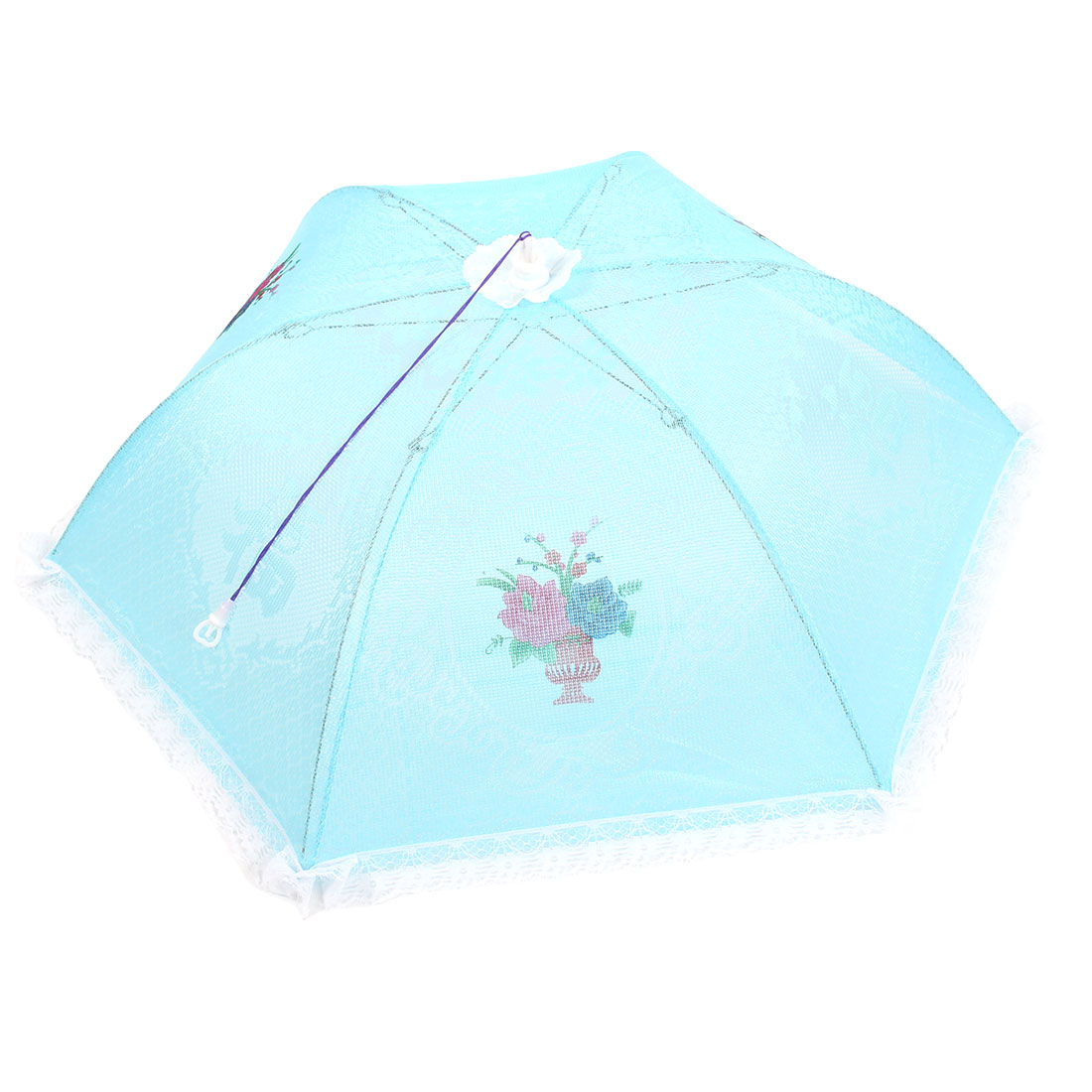 80cm Dia Kitchen Nylon Meshy Umbrella Shaped Flower Printed Foldable Food Cover Blue