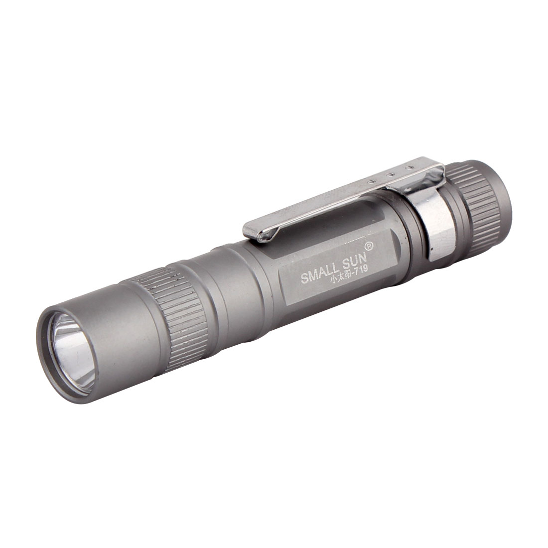 Aluminum Shell Water Resistant Light Clip Mini Flashlight Torch Gray Silver Tone