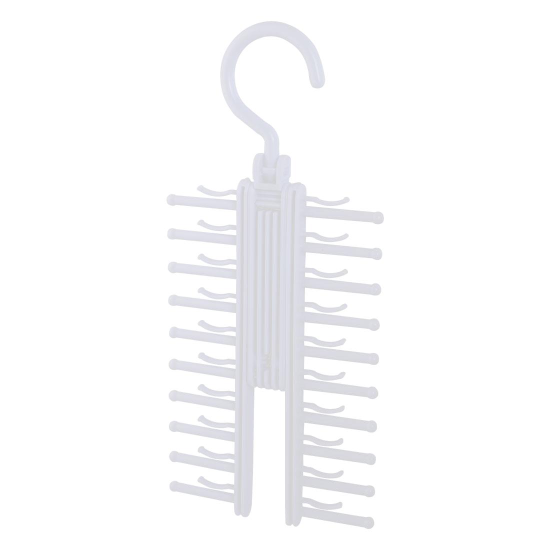 Family House Cloakroom Scarf Belt Necktie Hanger Hook Organizer White