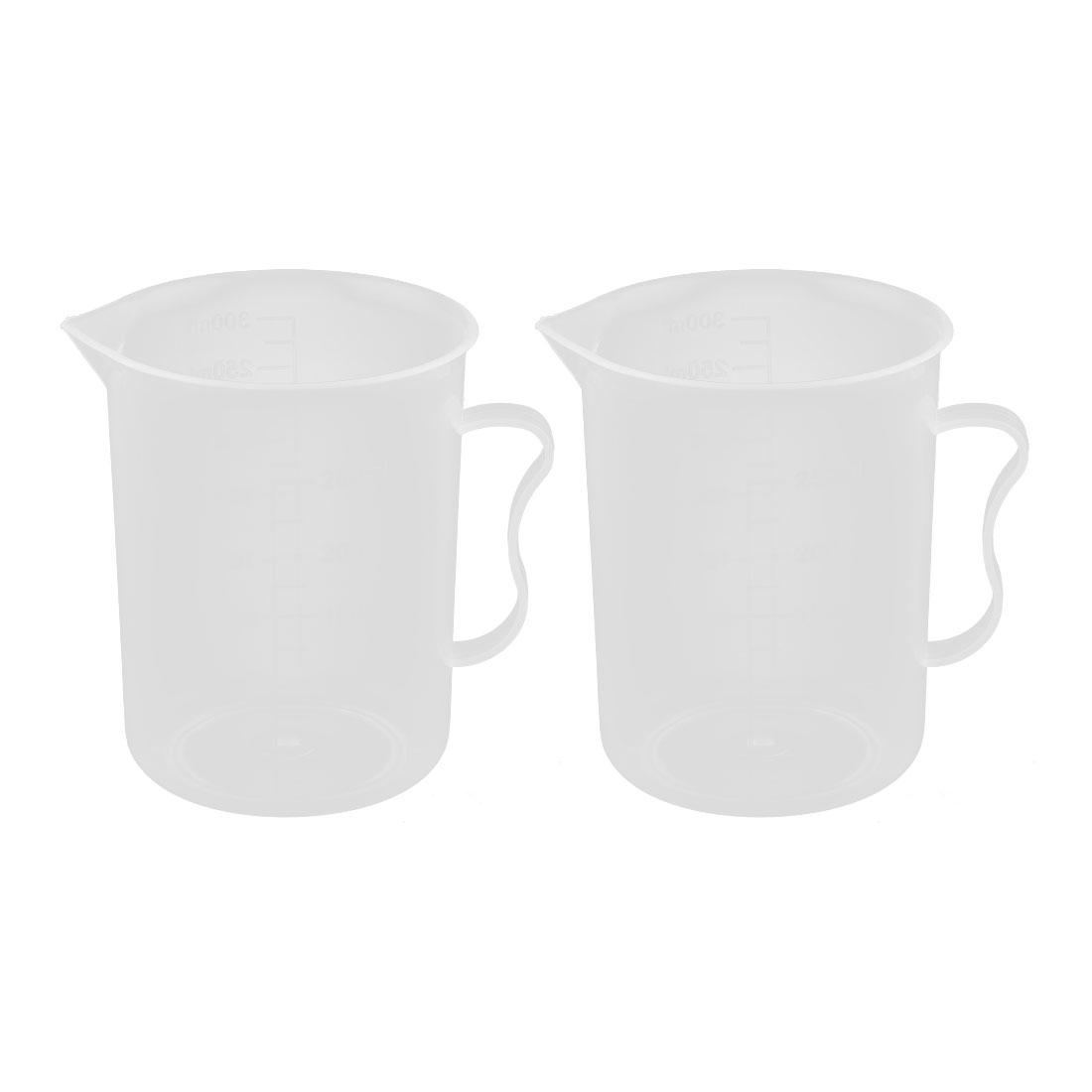 Kitchen Lab Plastic Graduated Liquid Solid Beaker Measuring Cup Clear 250ml 2pcs