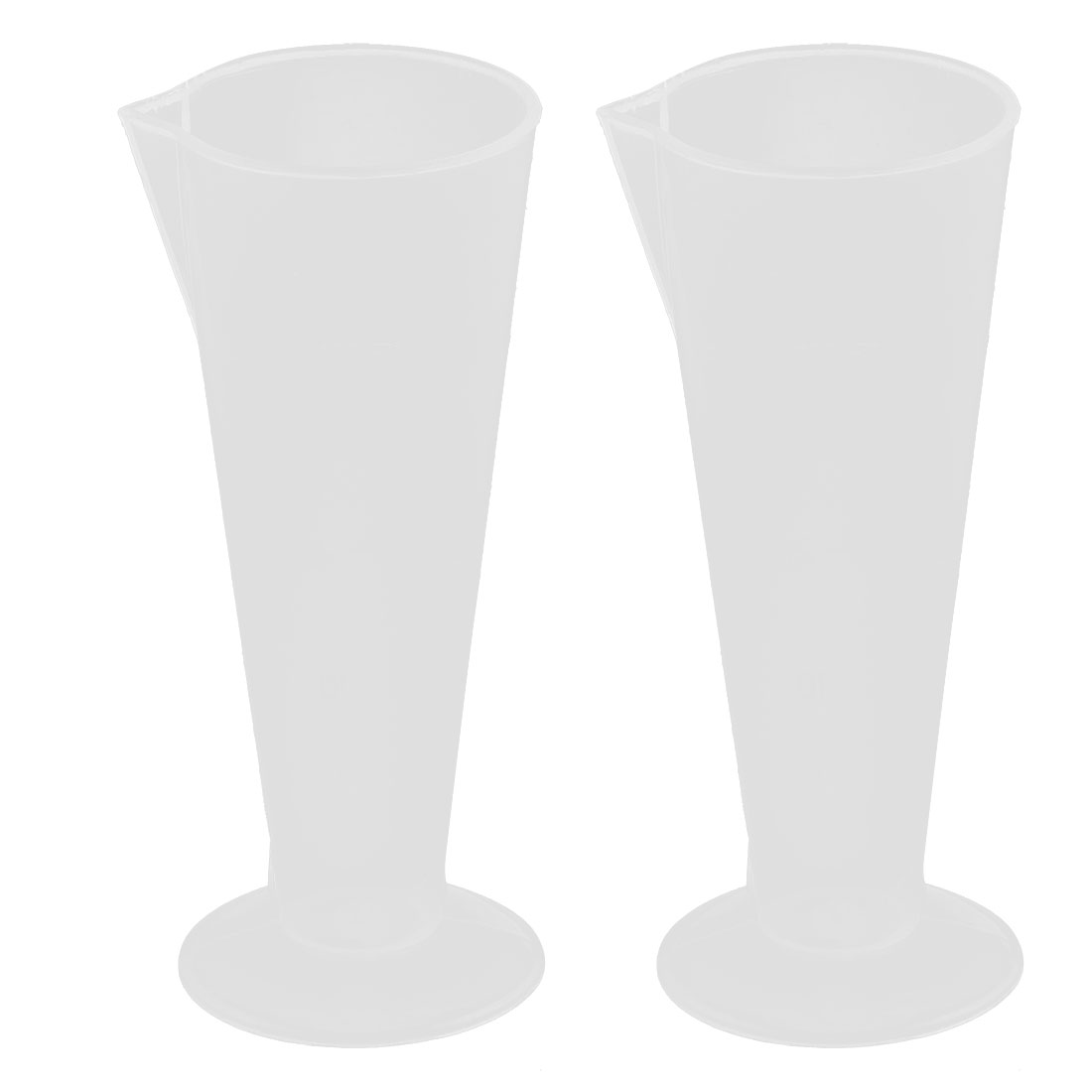 Plastic Water Liquid Testing Beaker Graduated Measuring Cup 50ml 2pcs Clear