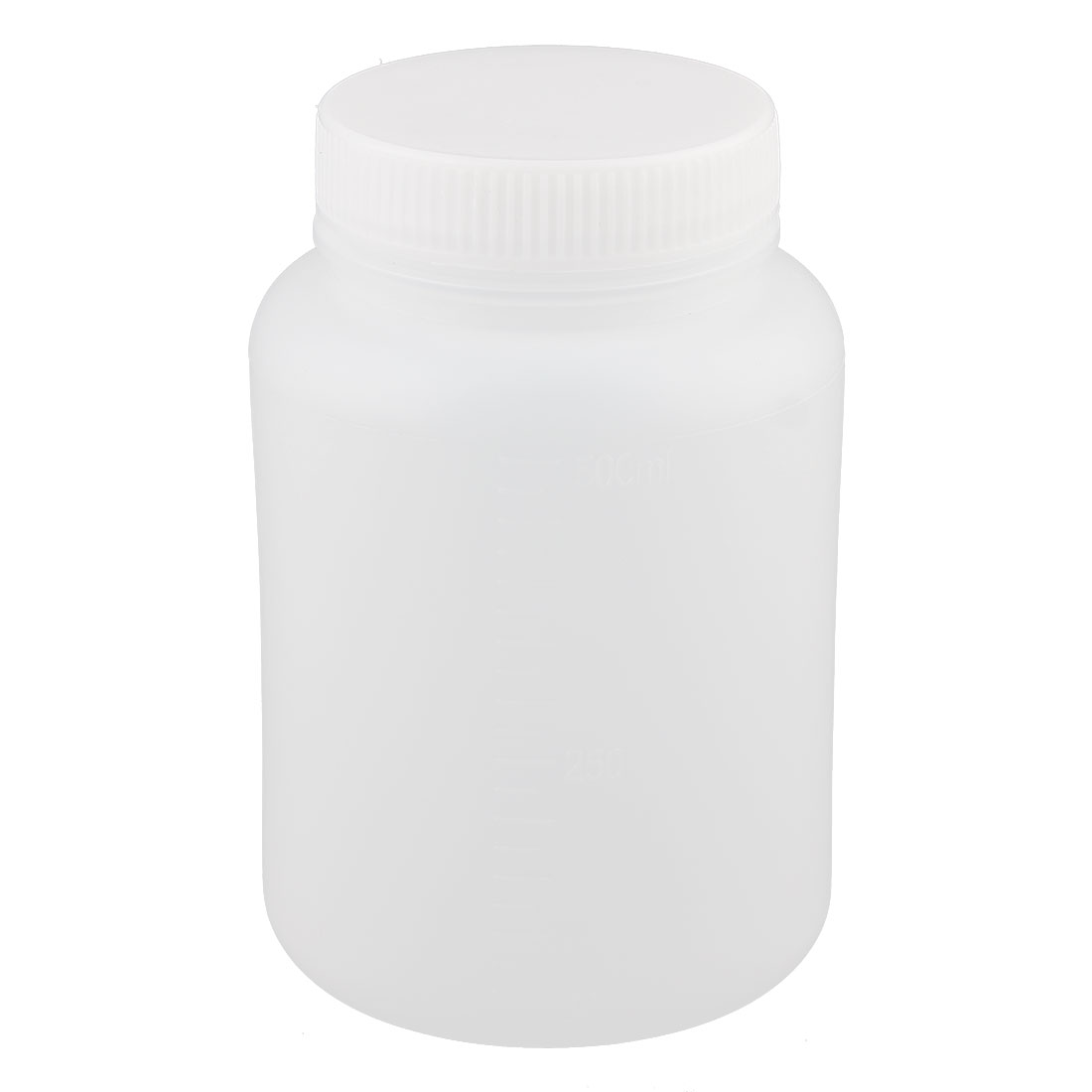 Lab 55mm Dia Plastic Widemouth Double Cap Chemical Storage Case Bottle White 500ml