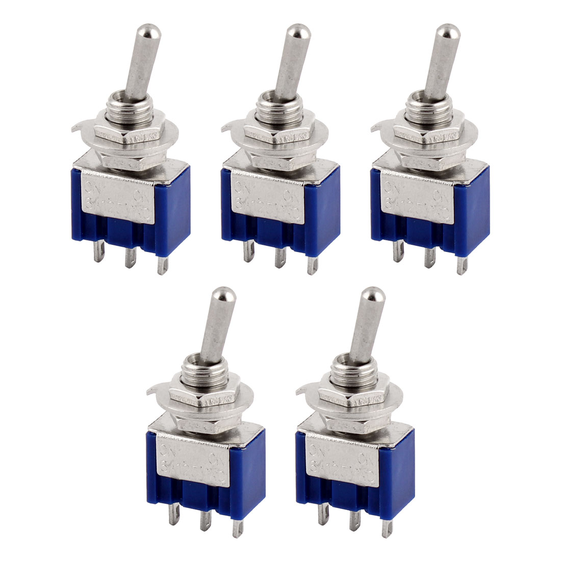 5 Pcs ON/ON 2 Position SPDT Latching Toggle Switch AC 125V/6A Blue