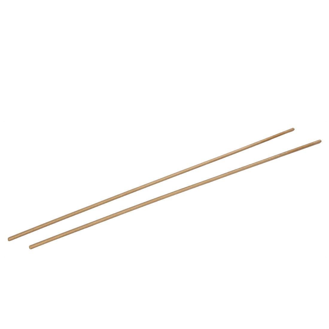 M5 x 500mm Male Threaded 0.8mm Pitch Full Thread Brass Rod Bars Hardware 2 Pcs