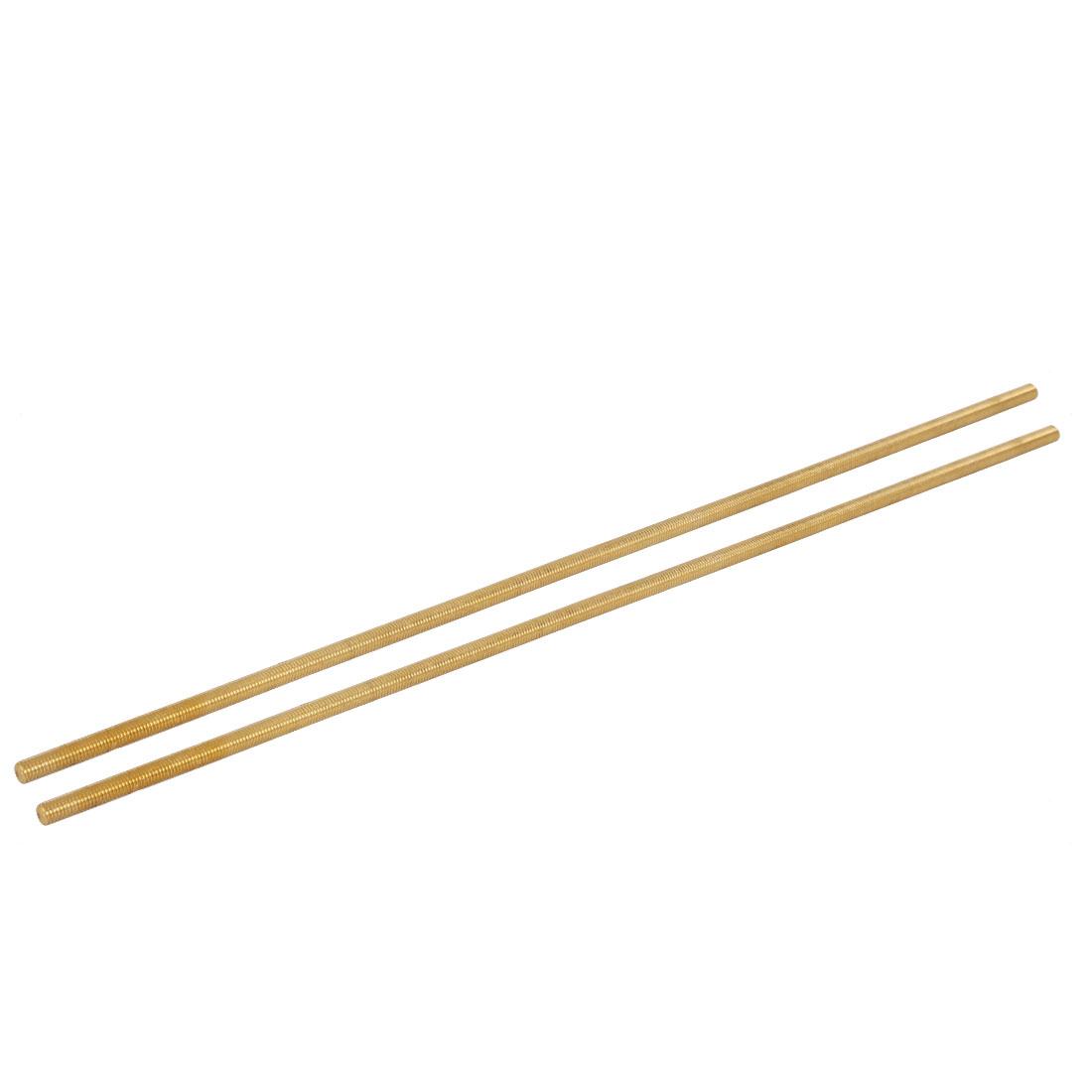M8 x 500mm Male Threaded 1.25mm Pitch Full Thread Brass Rod Bar Fastener 2 Pcs