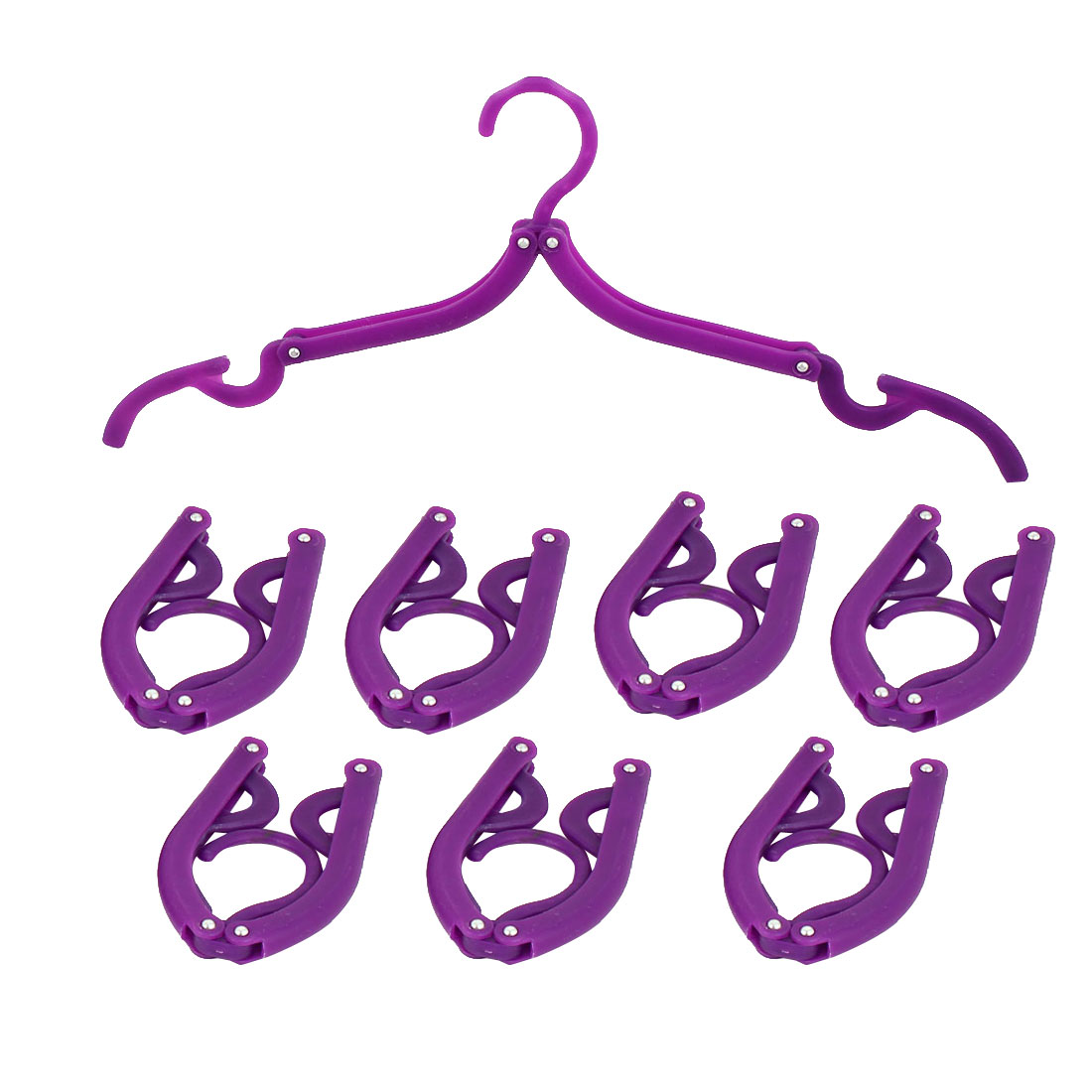 Household Travel Camping Portable Non-slip Folding Clothes Hangers Purple 8 Pcs