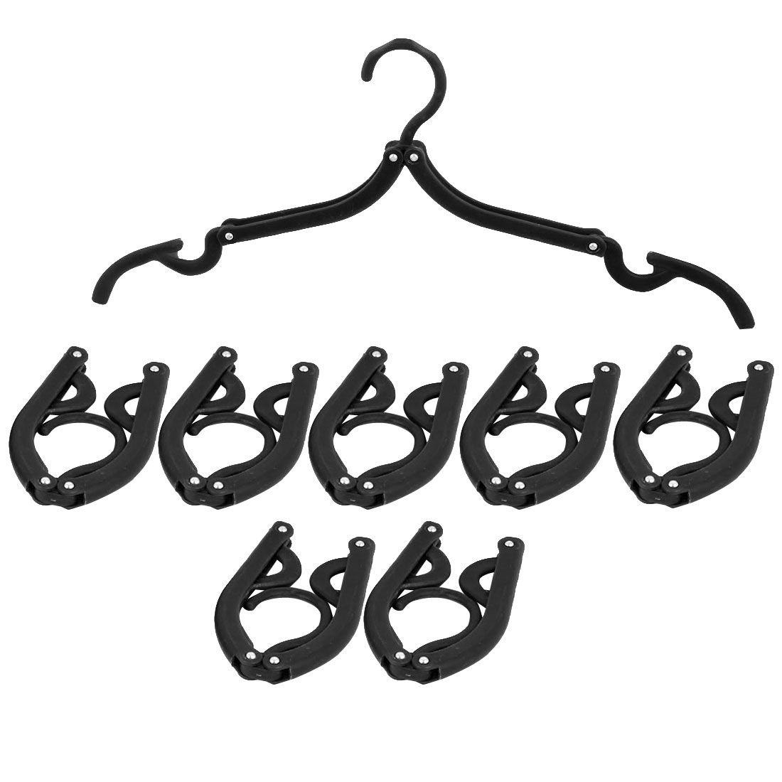 Household Travel Camping Portable Non-slip Folding Clothes Hangers Black 8 Pcs