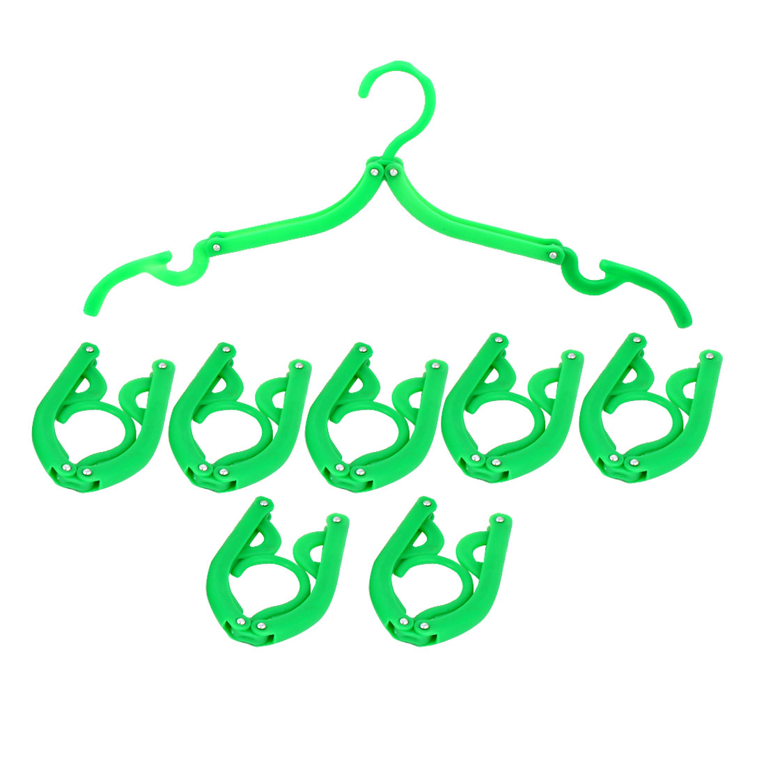Household Travel Camping Portable Non-slip Folding Clothes Hangers Green 8 Pcs