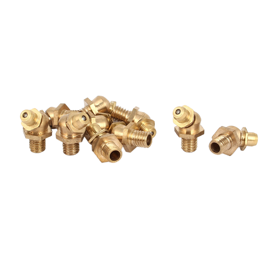 M6 Thread 1mm Pitch 45 Degree Angle Brass Grease Zerk Nipple Fittings 10 Pcs