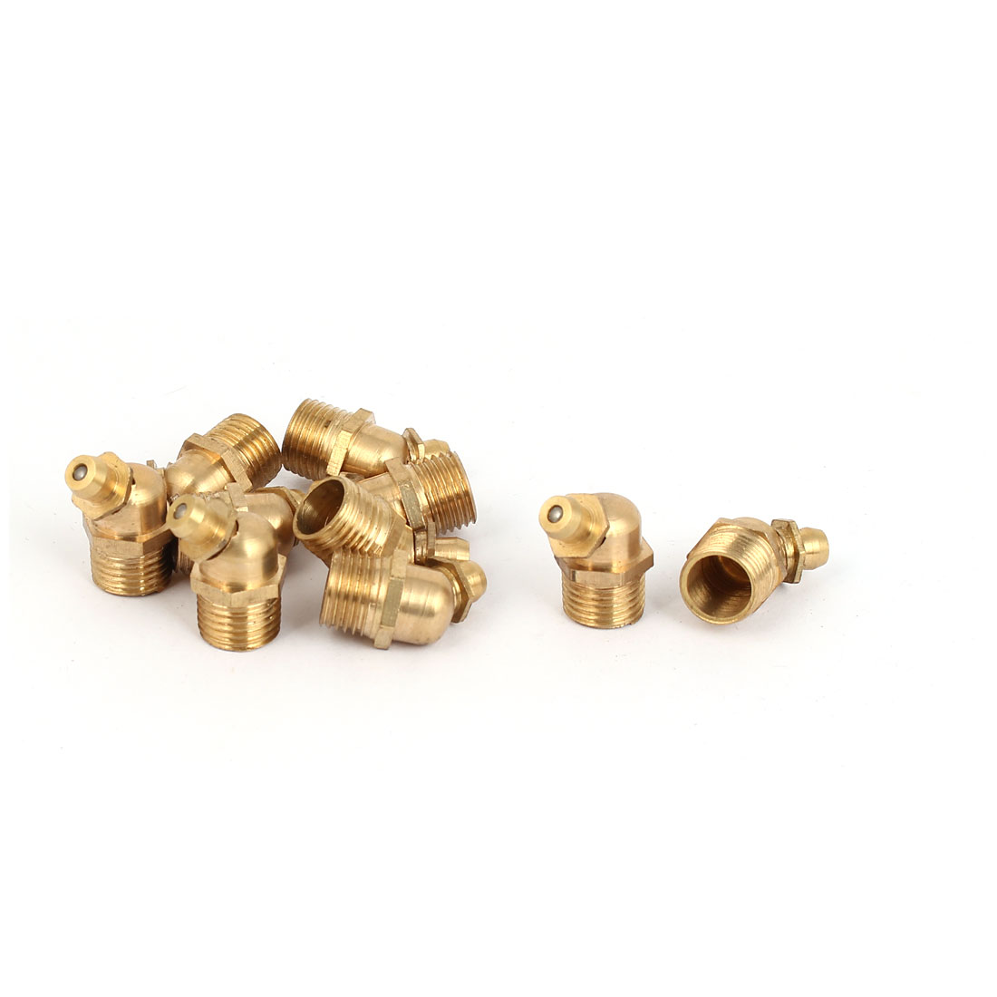 M10 Male Thread 45 Degree Brass Hydraulic Grease Nipple Fittings 10 Pcs