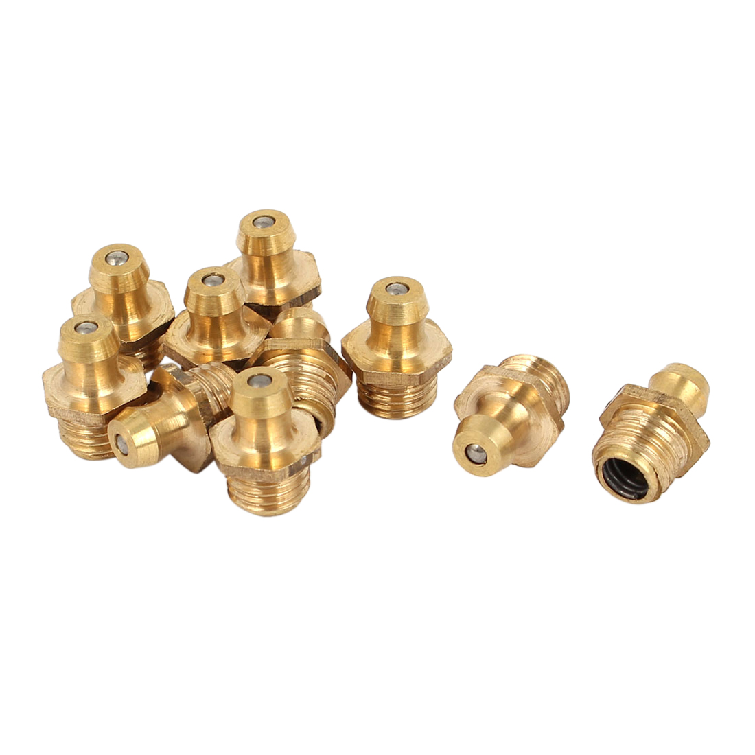 M8 Male Thread Straight Brass Zerk Grease Nipple Fittings Gold Tone 10 Pcs