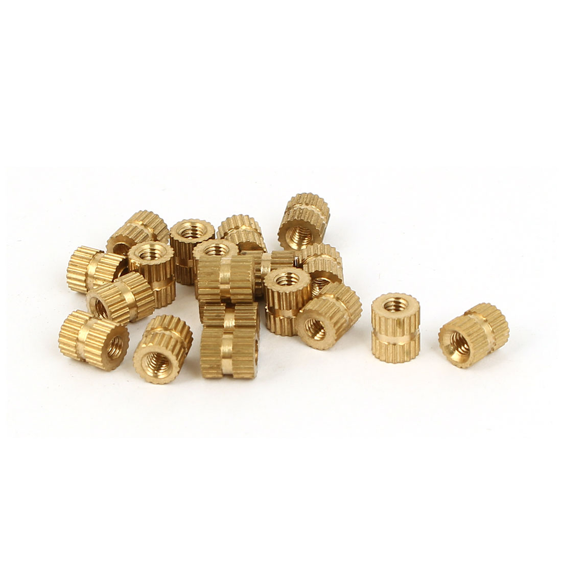 M3 x 5mm x 6mm Female Threaded Insert Embedded Brass Knurled Nuts Gold Tone 20 Pcs