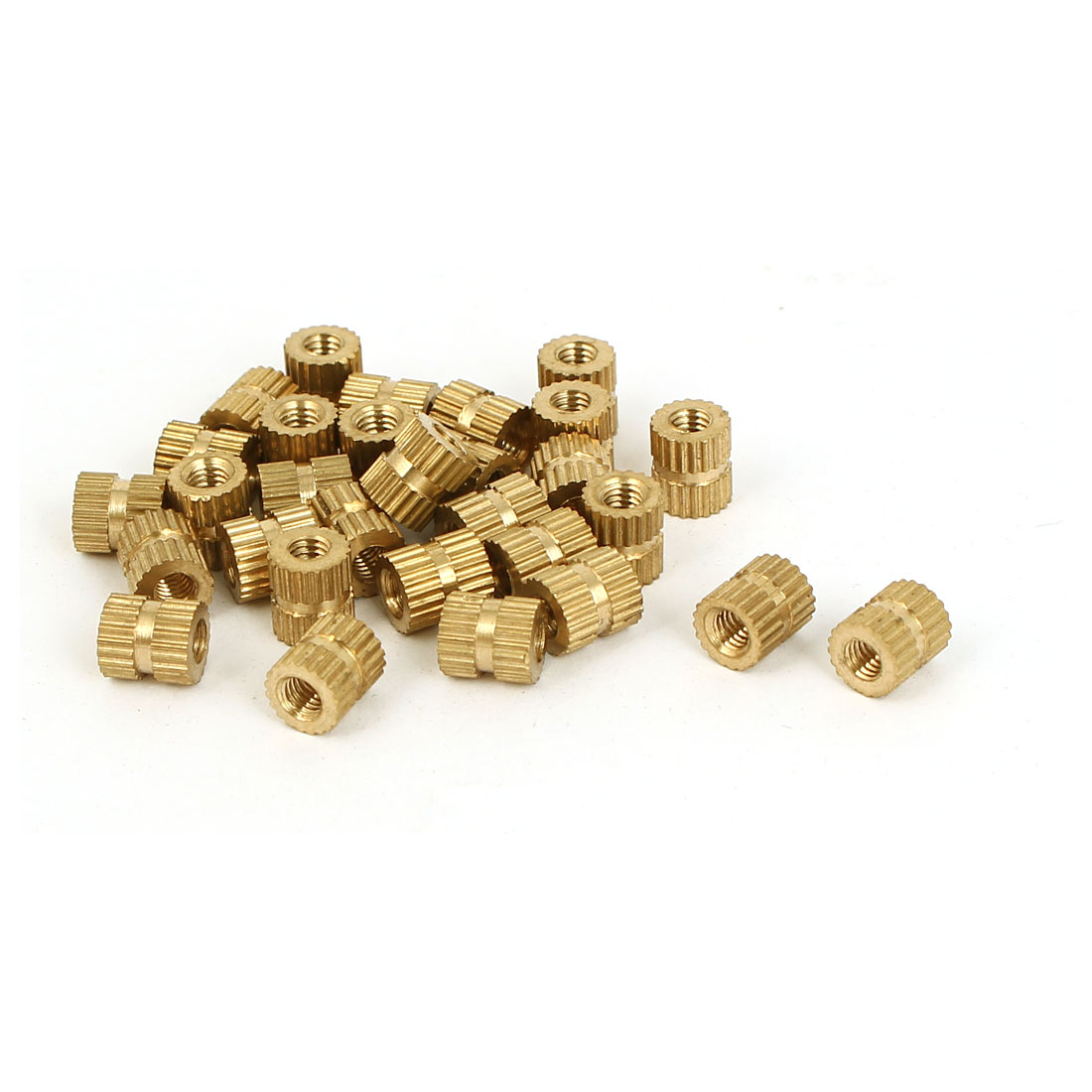 M3 x 5mm x 6mm 0.5mm Pitch Embedded Brass Knurled Thumb Nuts Gold Tone 30 Pcs