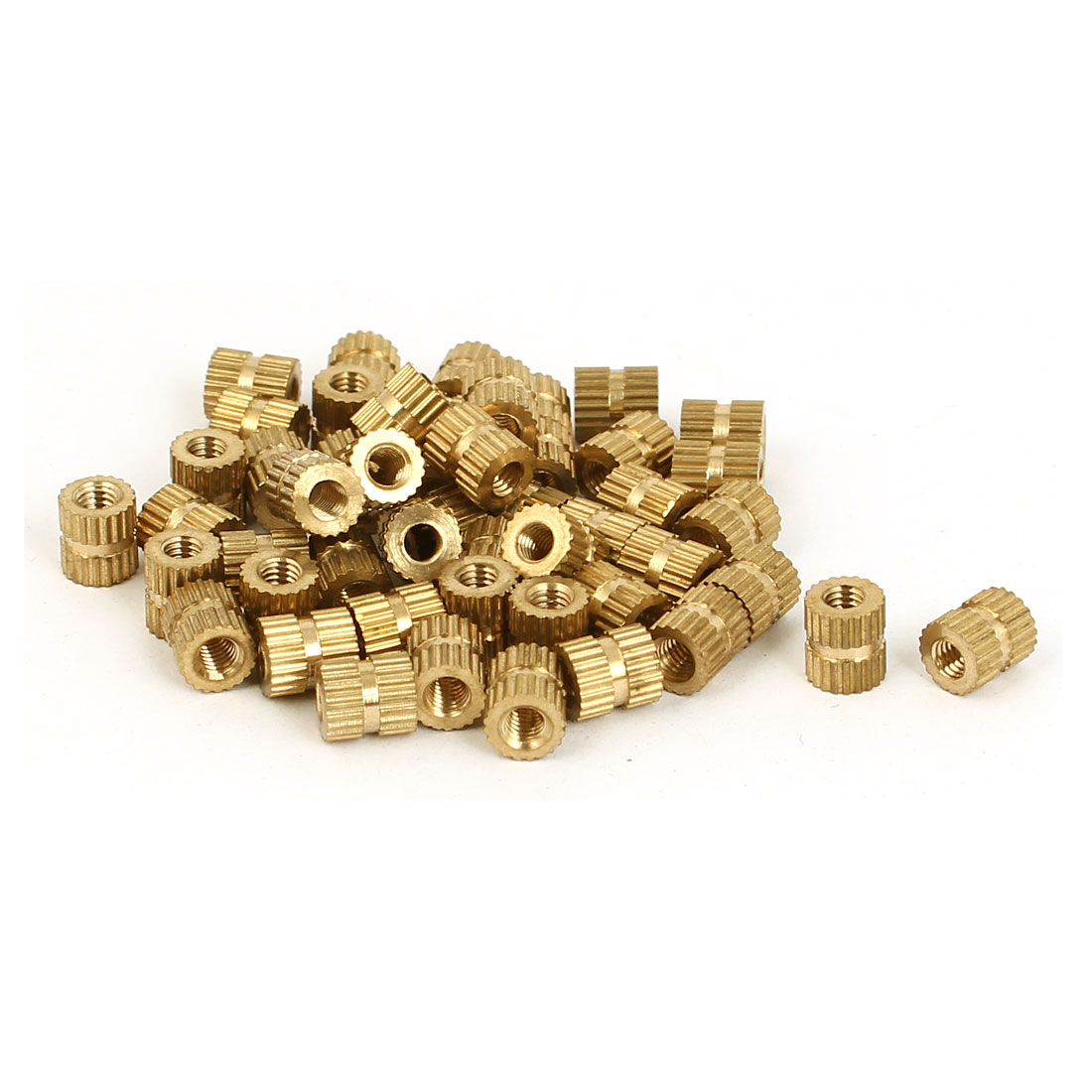 M3 Female Threaded Insert Embedded Brass Knurled Thumb Nuts Gold Tone 50 Pcs