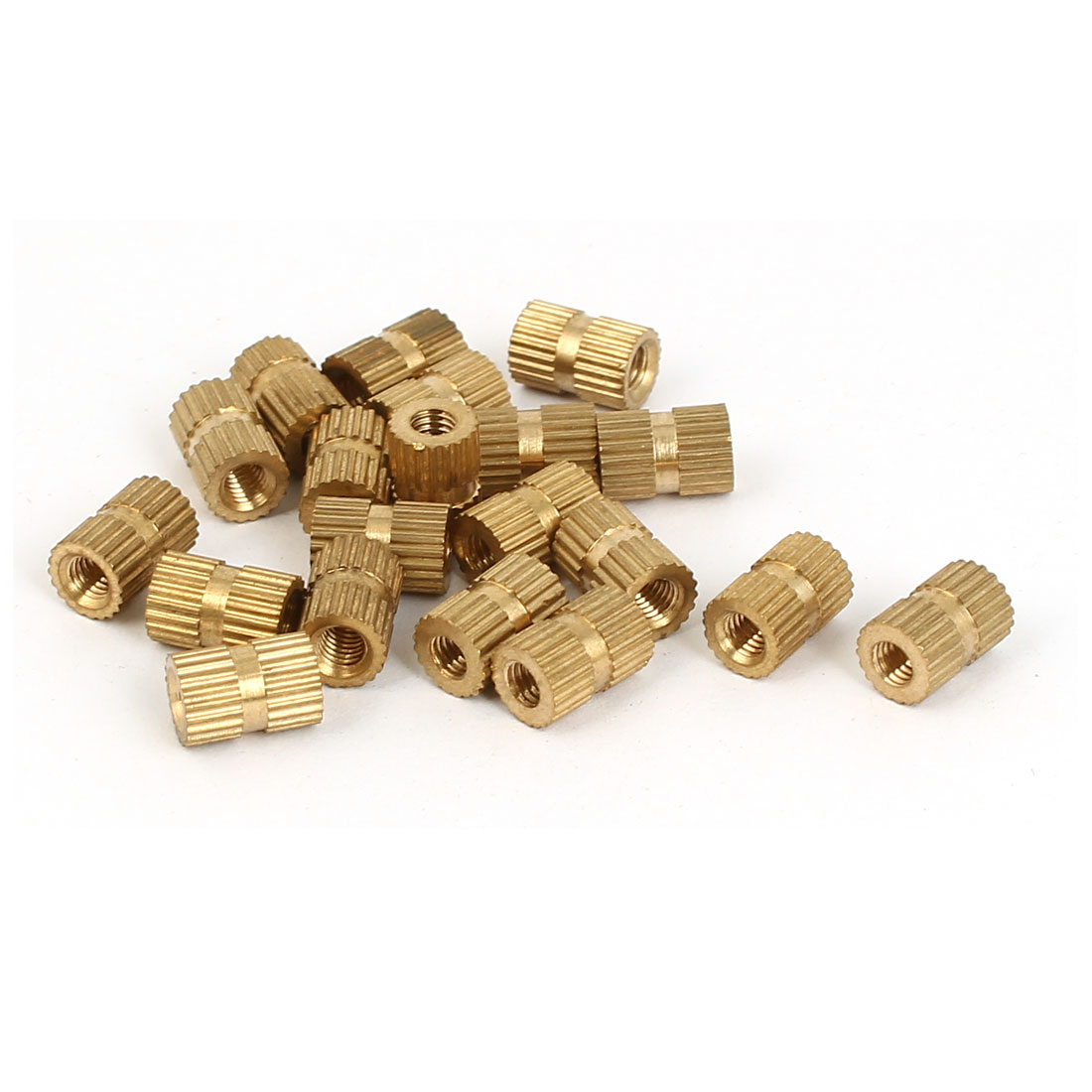 M3 x 5mm x 8mm Female Threaded Insert Embedded Brass Knurled Thumb Nuts 20 Pcs