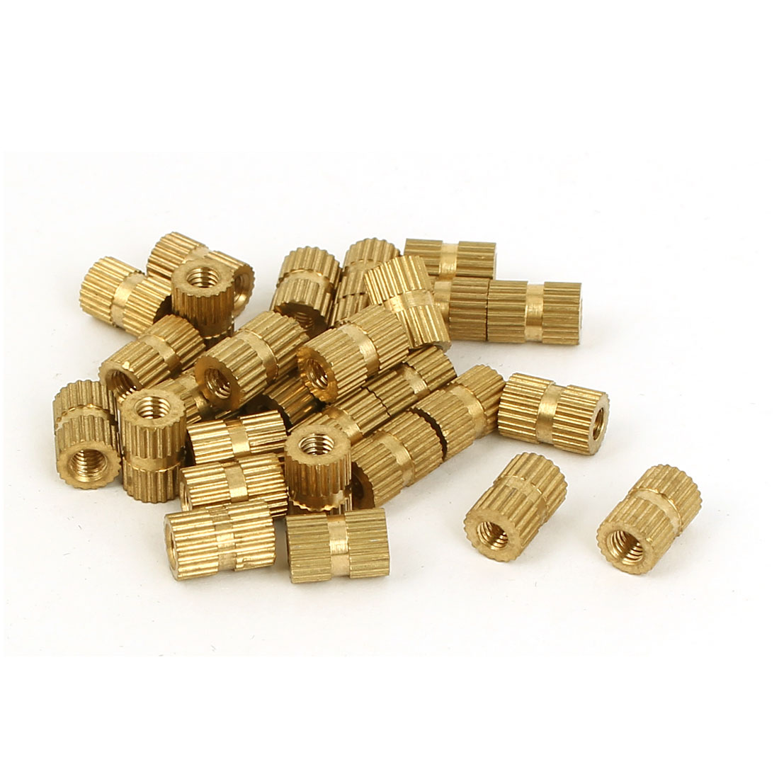 M3 x 5mm x 8mm Female Threaded Insert Embedded Brass Knurled Nuts Gold Tone 30 Pcs
