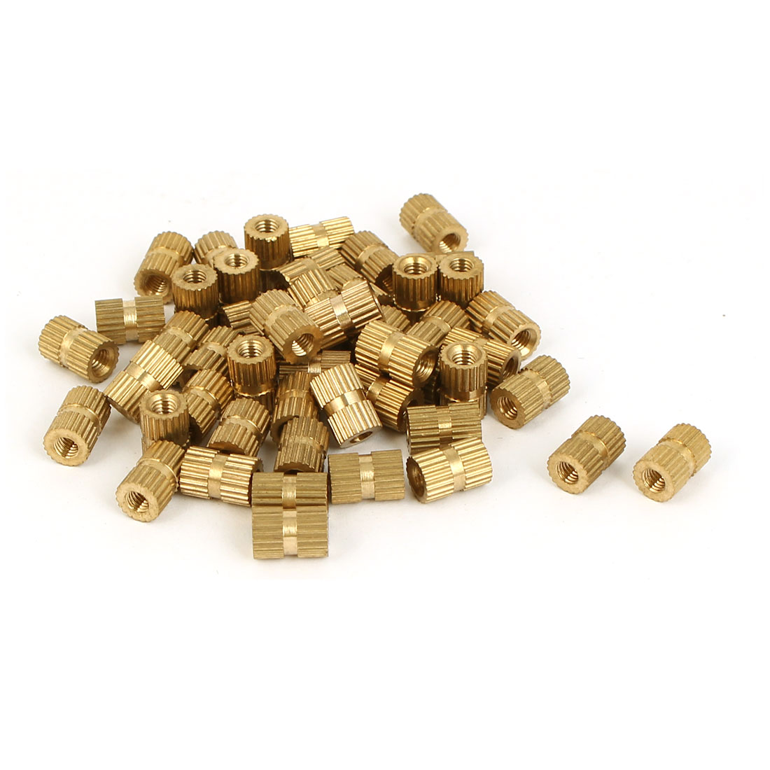 M3 Female Threaded Insert Embedded Brass Knurled Nuts Hardware Gold Tone 50 Pcs