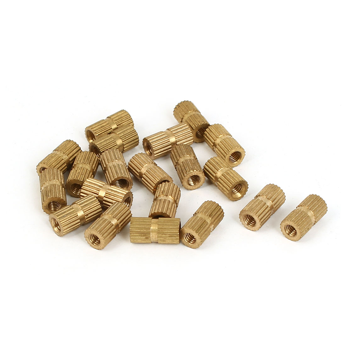 M3 x 5mm x 10mm Female Threaded Insert Embedded Brass Knurled Nuts Fastener 20 Pcs