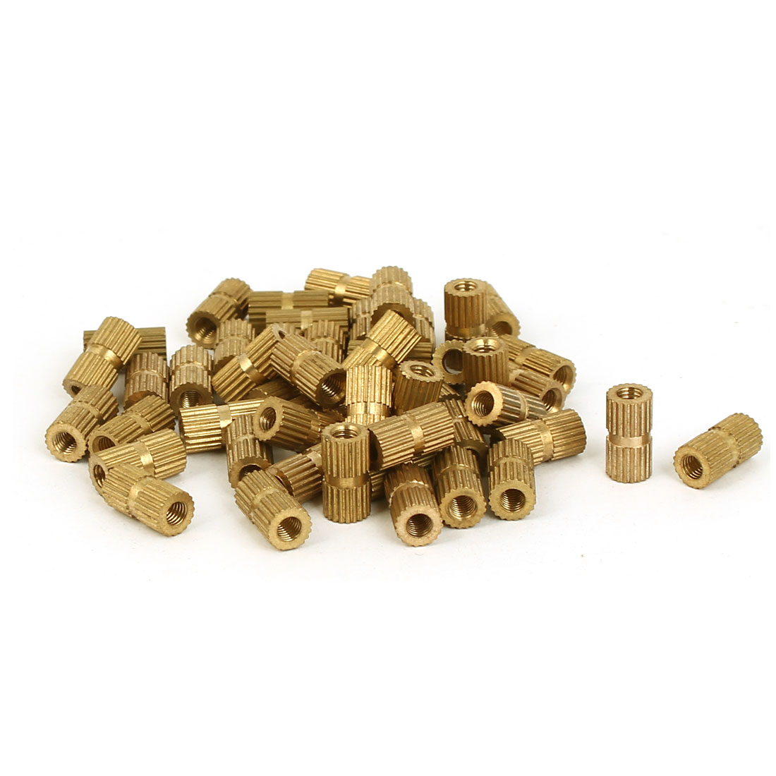 M3 x 5mm x 10mm Female Threaded Insert Embedded Knurled Nuts Gold Tone 50 Pcs