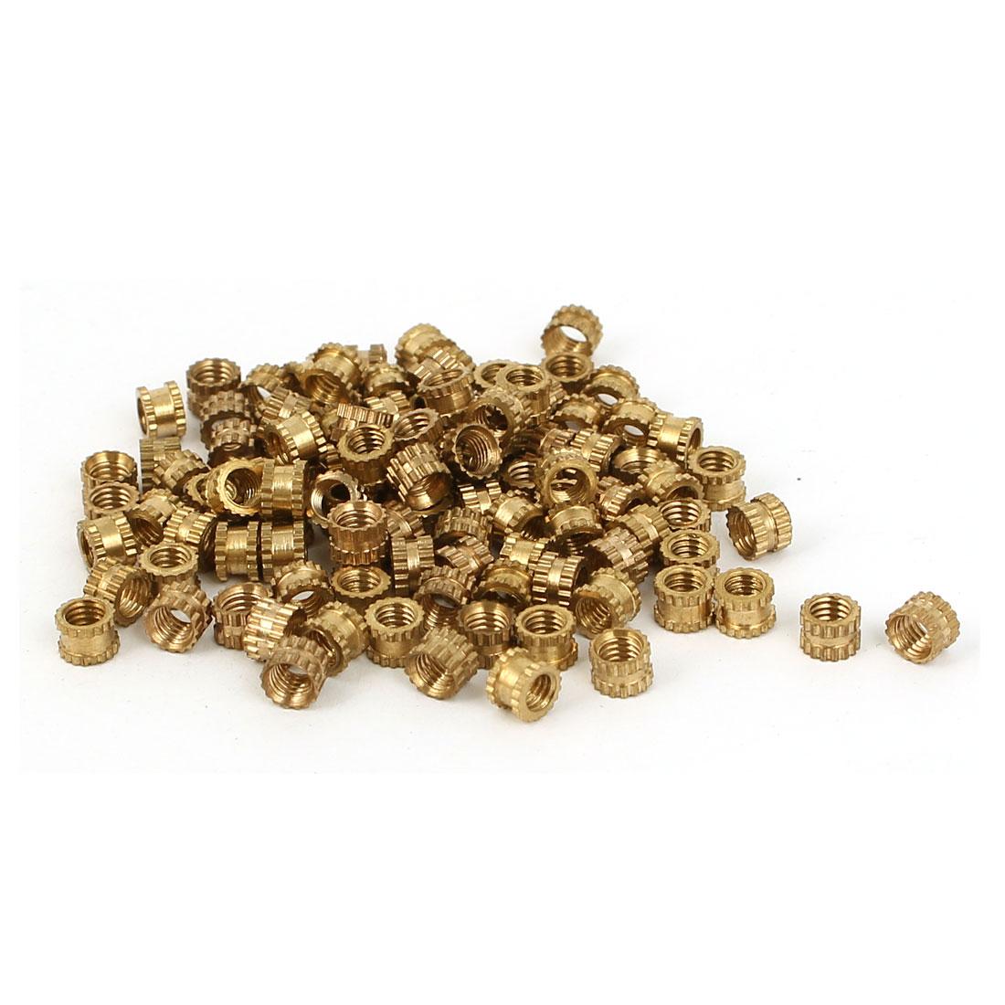 M3 x 4mm x 3mm Female Threaded Insert Embedded Brass Knurled Nuts Gold Tone 100 Pcs