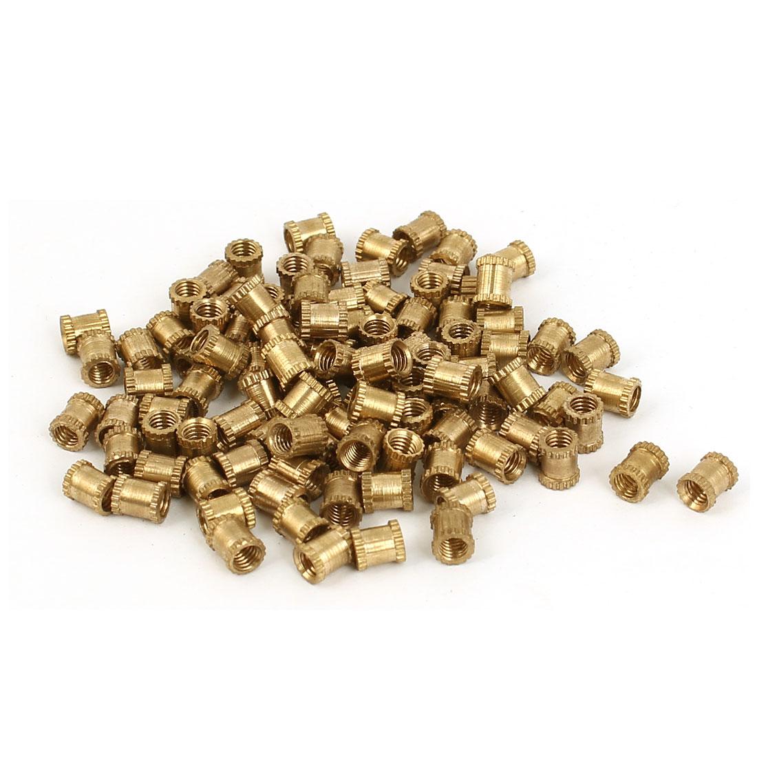 M3 x 4mm x 5mm Female Threaded Insert Embedded Brass Knurled Nut Fastener 100pcs