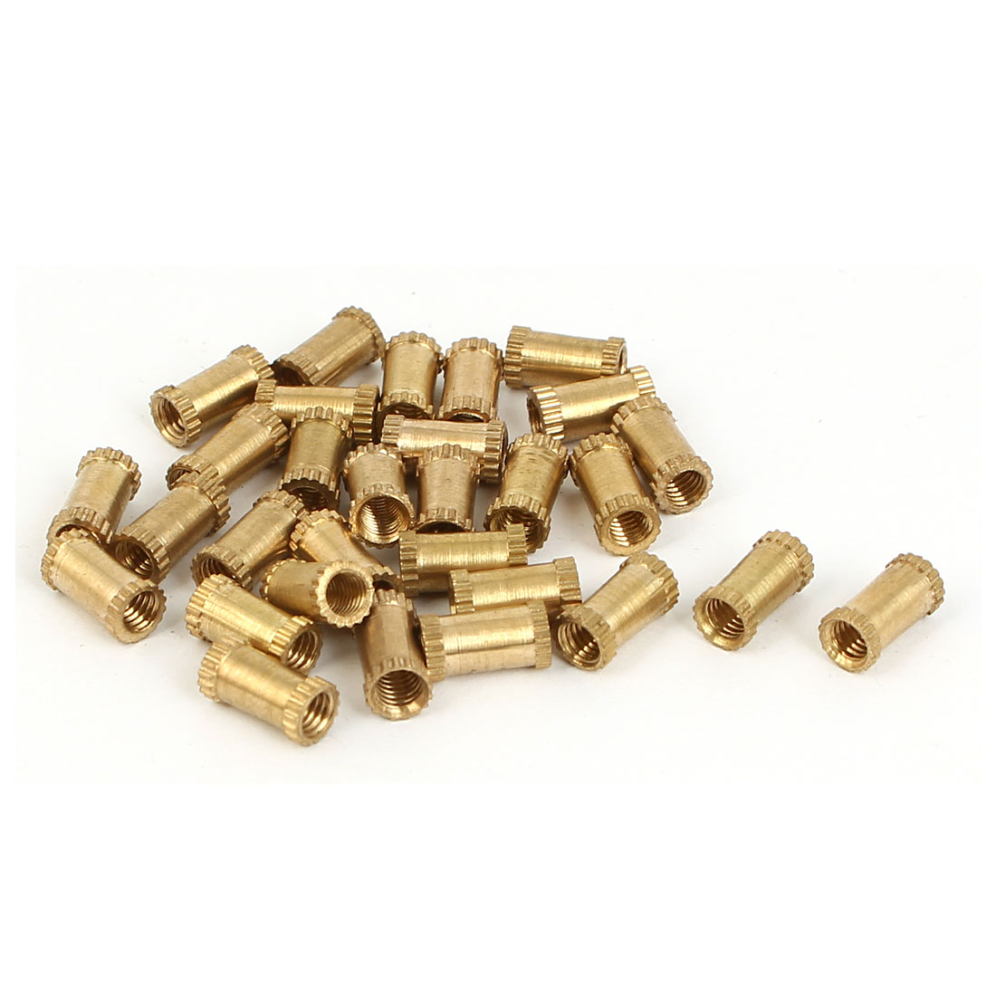 M3 x 4mm x 8mm Female Threaded Insert Embedded Brass Knurled Nuts Gold Tone 30 Pcs