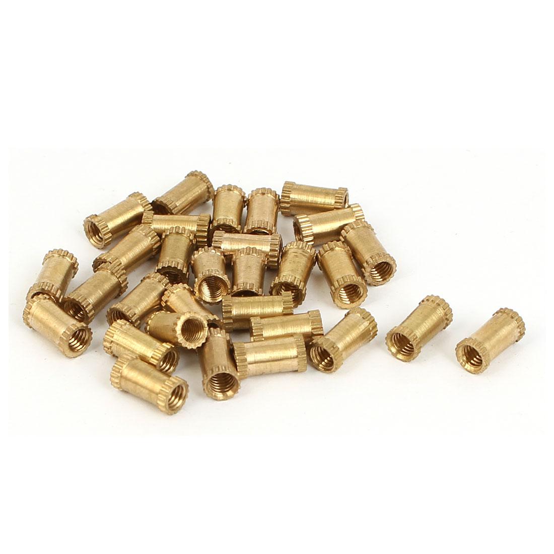 M3 x 4mm x 8mm Female Threaded Insert Embedded Brass Knurled Nuts Gold Tone 30 Pcs