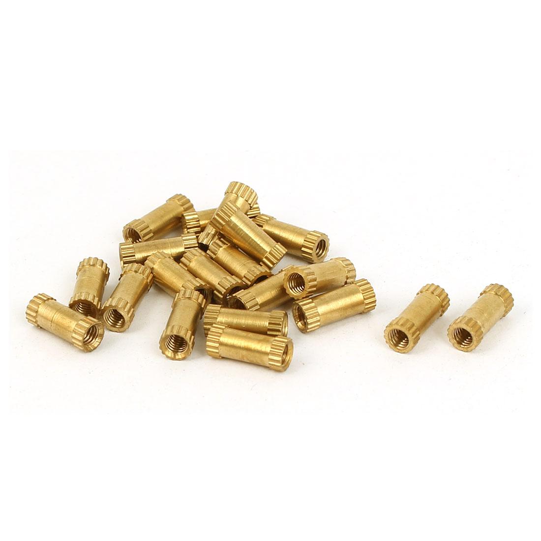 M3 x 4mm x 10mm Female Threaded Insert Embedded Brass Knurled Nuts Hardware 20 Pcs