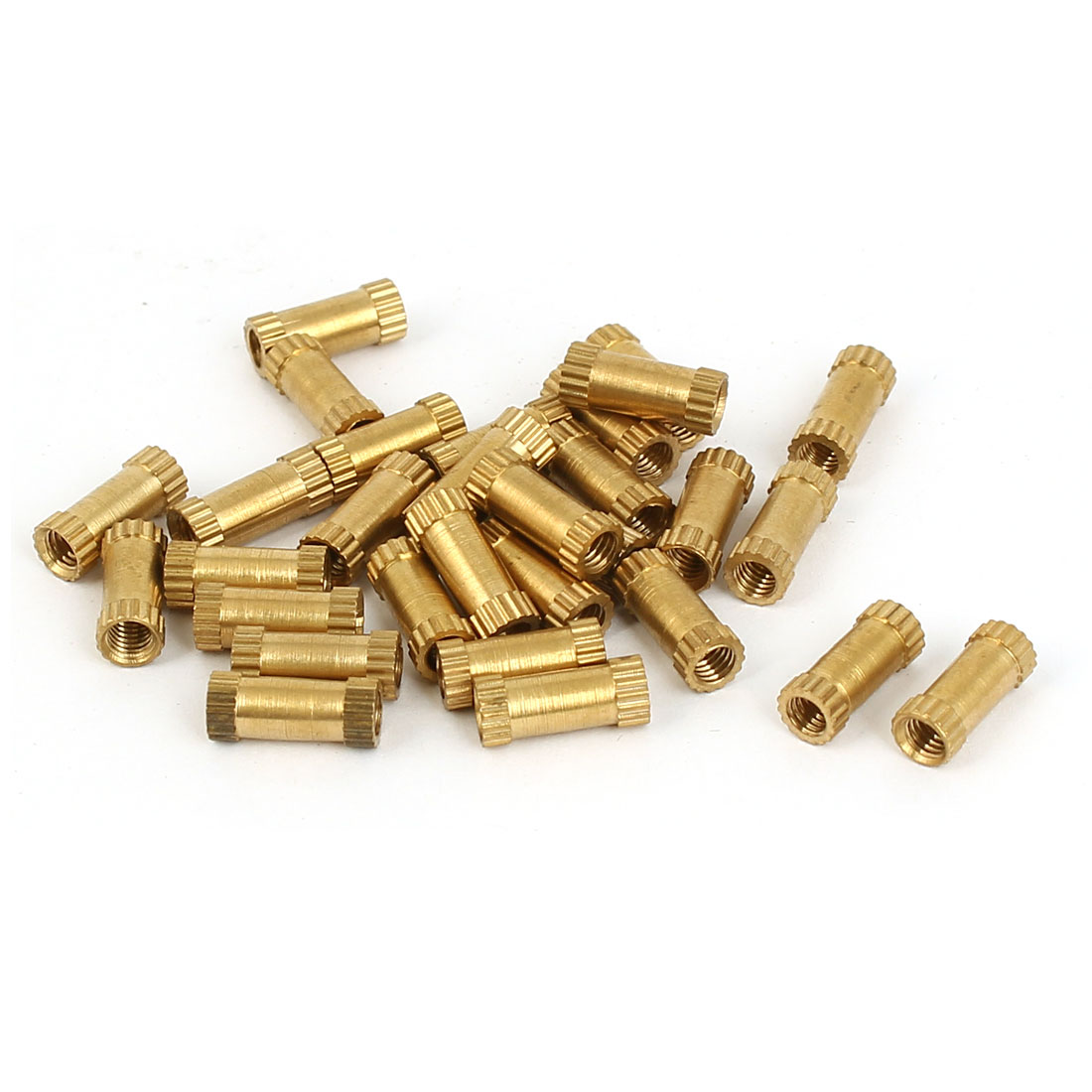 M3 x 4mm x 10mm Female Threaded Insert Embedded Brass Knurled Thumb Nuts 30 Pcs