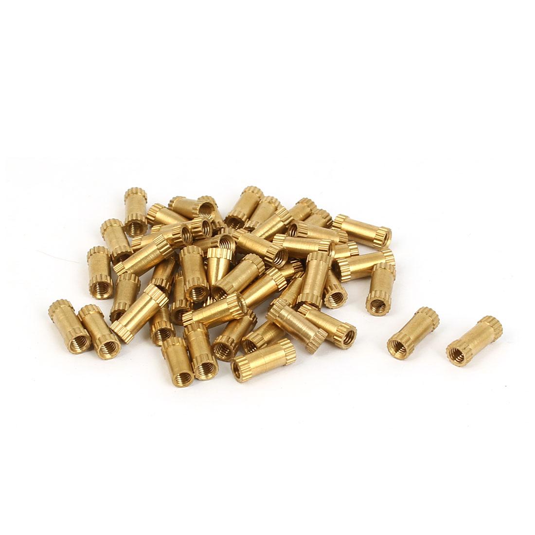 M3 x 4mm x 10mm 0.5mm Thread Pitch Brass Embedded Knurled Thumb Nuts 50 Pcs