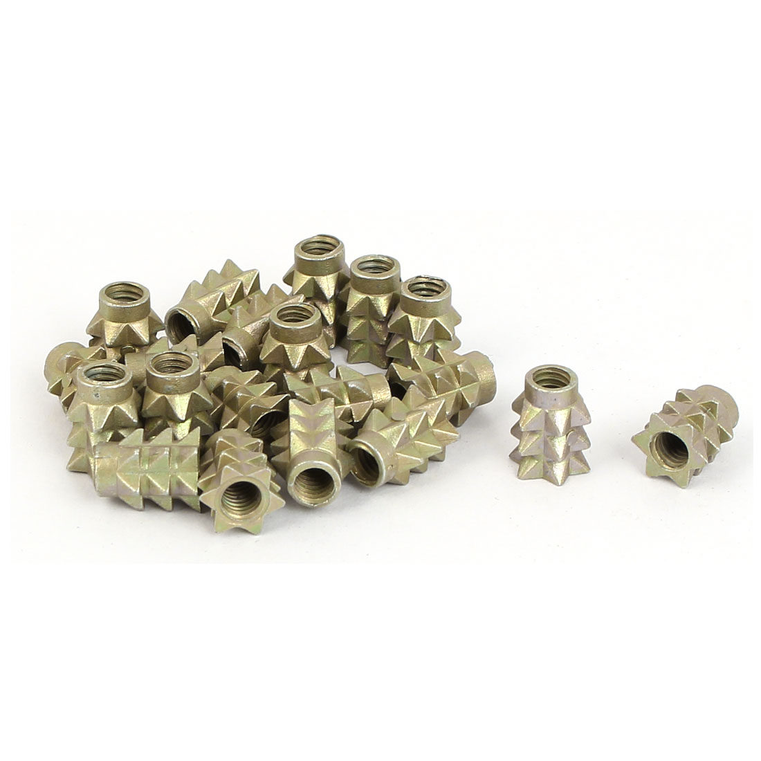 M4 x 10mm 0.7mm Thread Pitch Barbed Body Insert Nuts Fastener Bronze Tone 20 Pcs