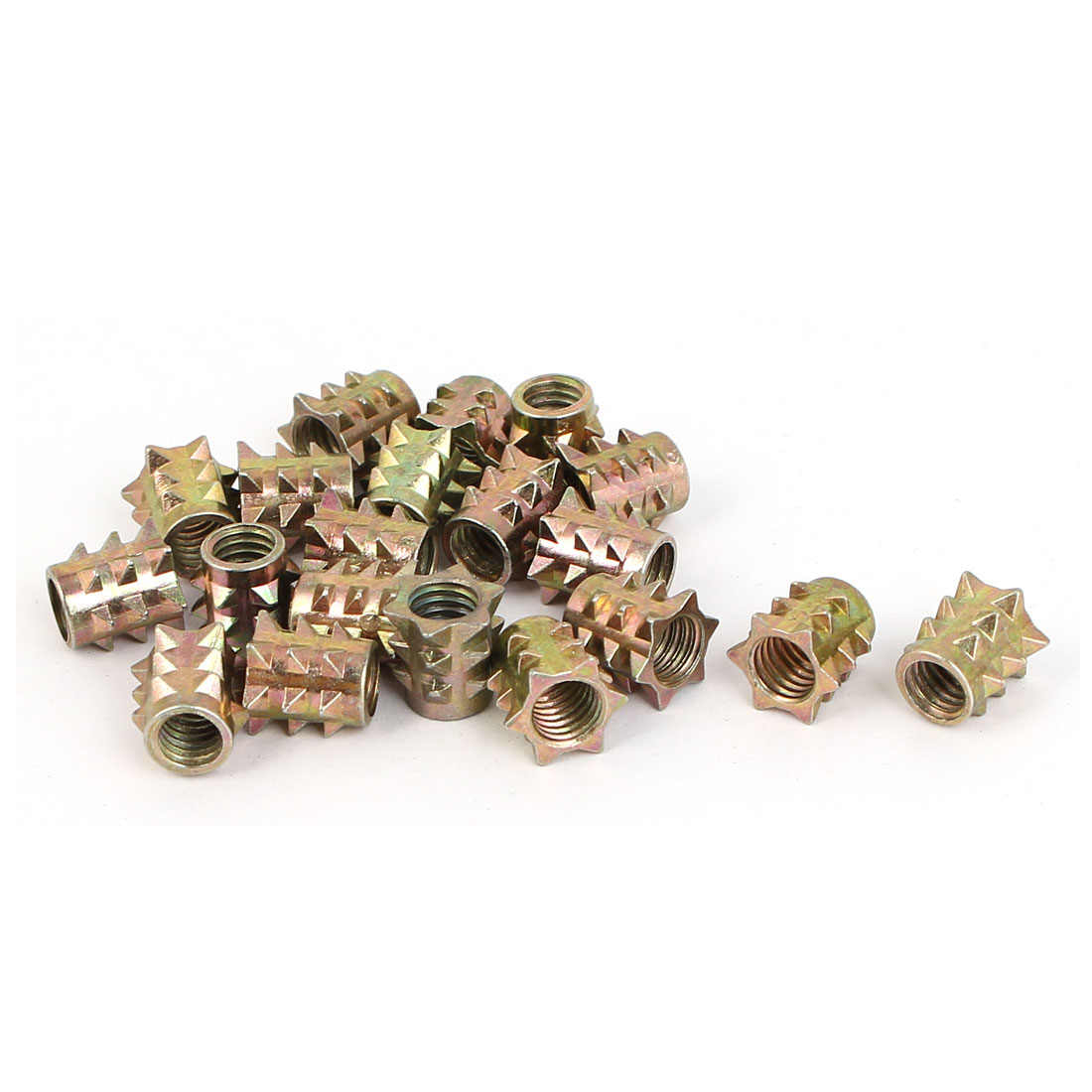 M6 x 10mm Female Threaded Barbed Body Insert Nuts Bronze Tone 20 Pcs