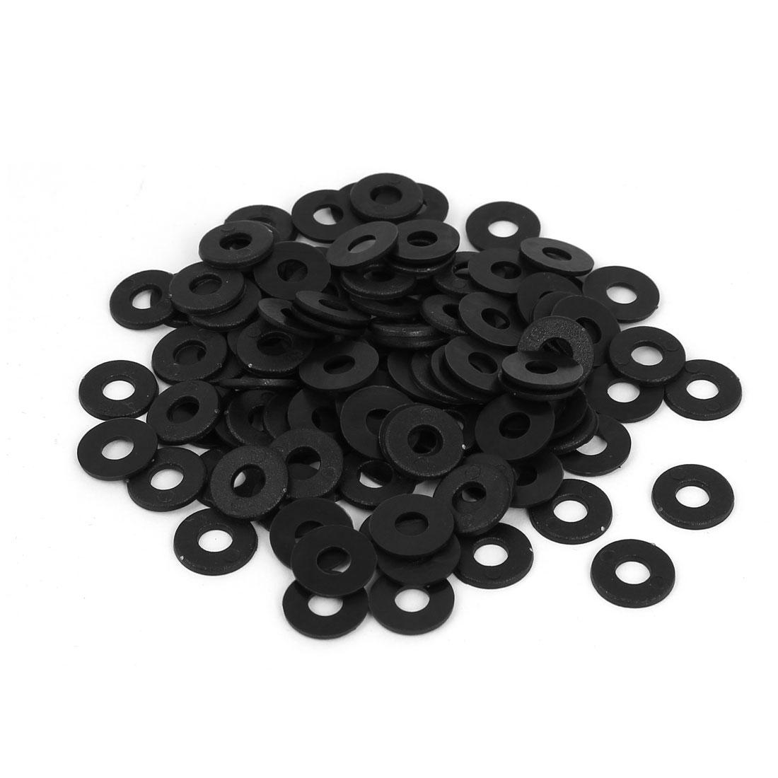 M4 x 10mm x 1mm Round Flat Nylon Shoulder Washer Gasket Seal Rings Black 100 Pcs