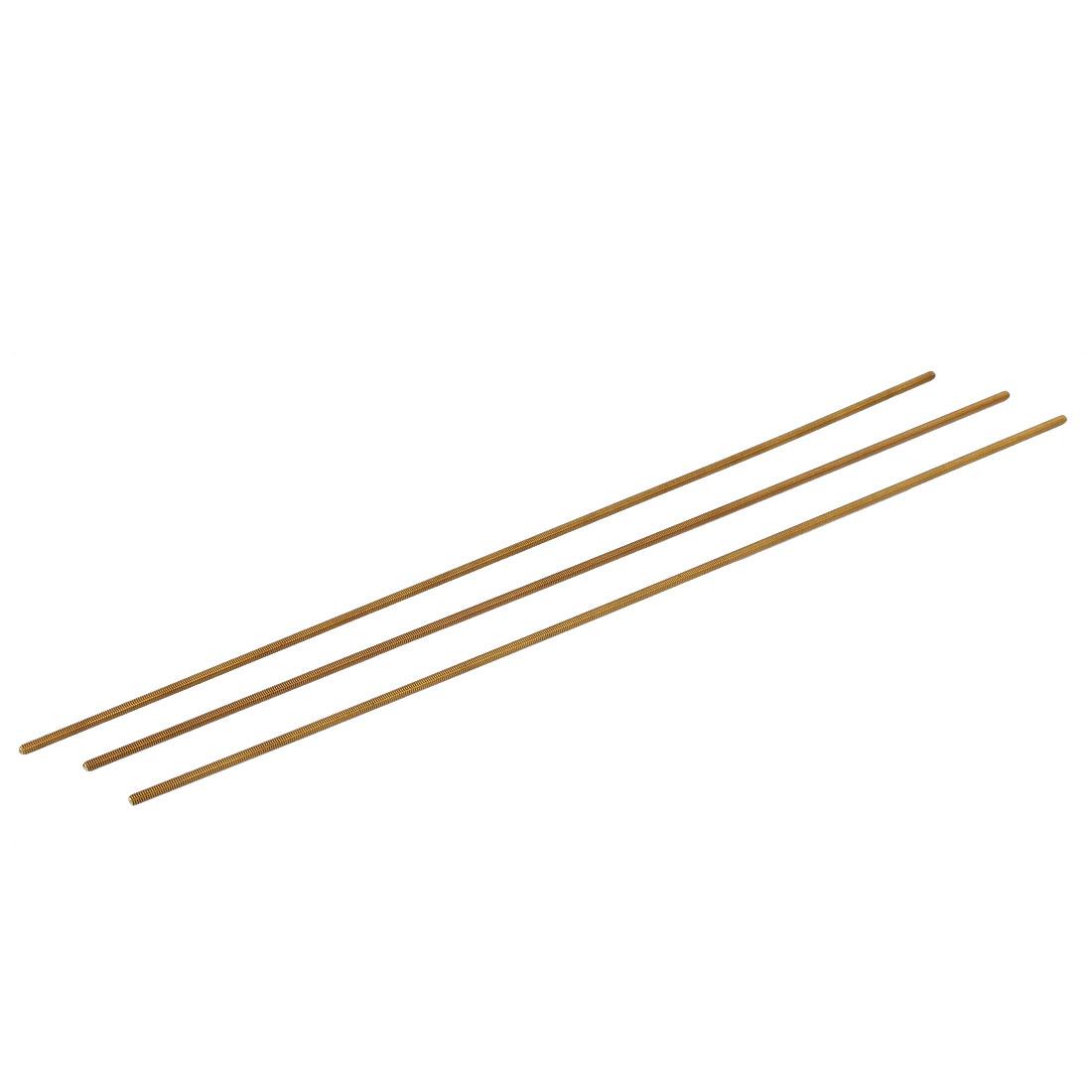 M2.5 x 250mm Male Threaded 0.5mm Pitch All Thread Brass Rod Bars Hardware 3 Pcs