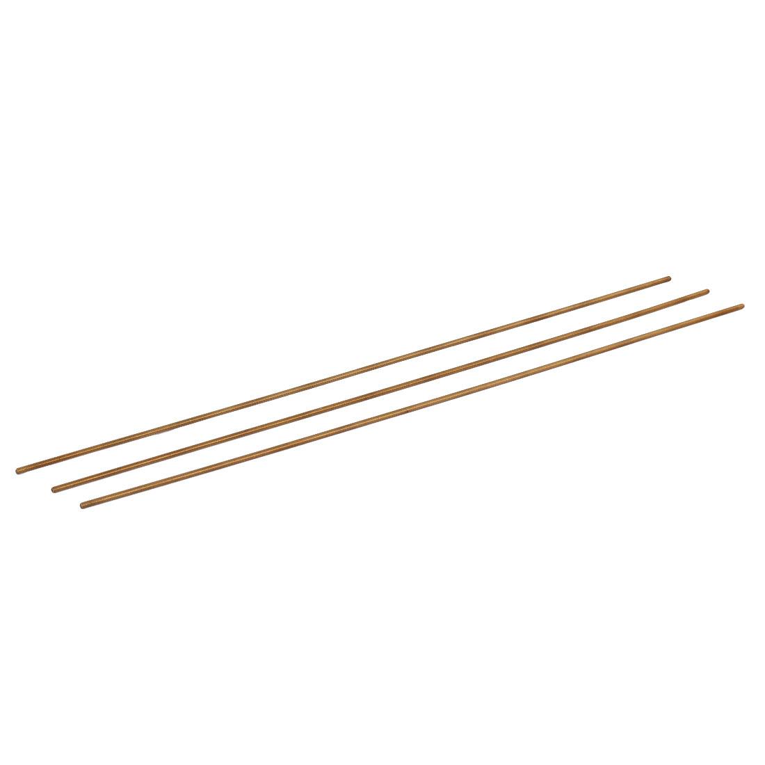 M2 x 250mm Male Threaded 0.4mm Pitch All Thread Brass Rod Bar Gold Tone 3 Pcs
