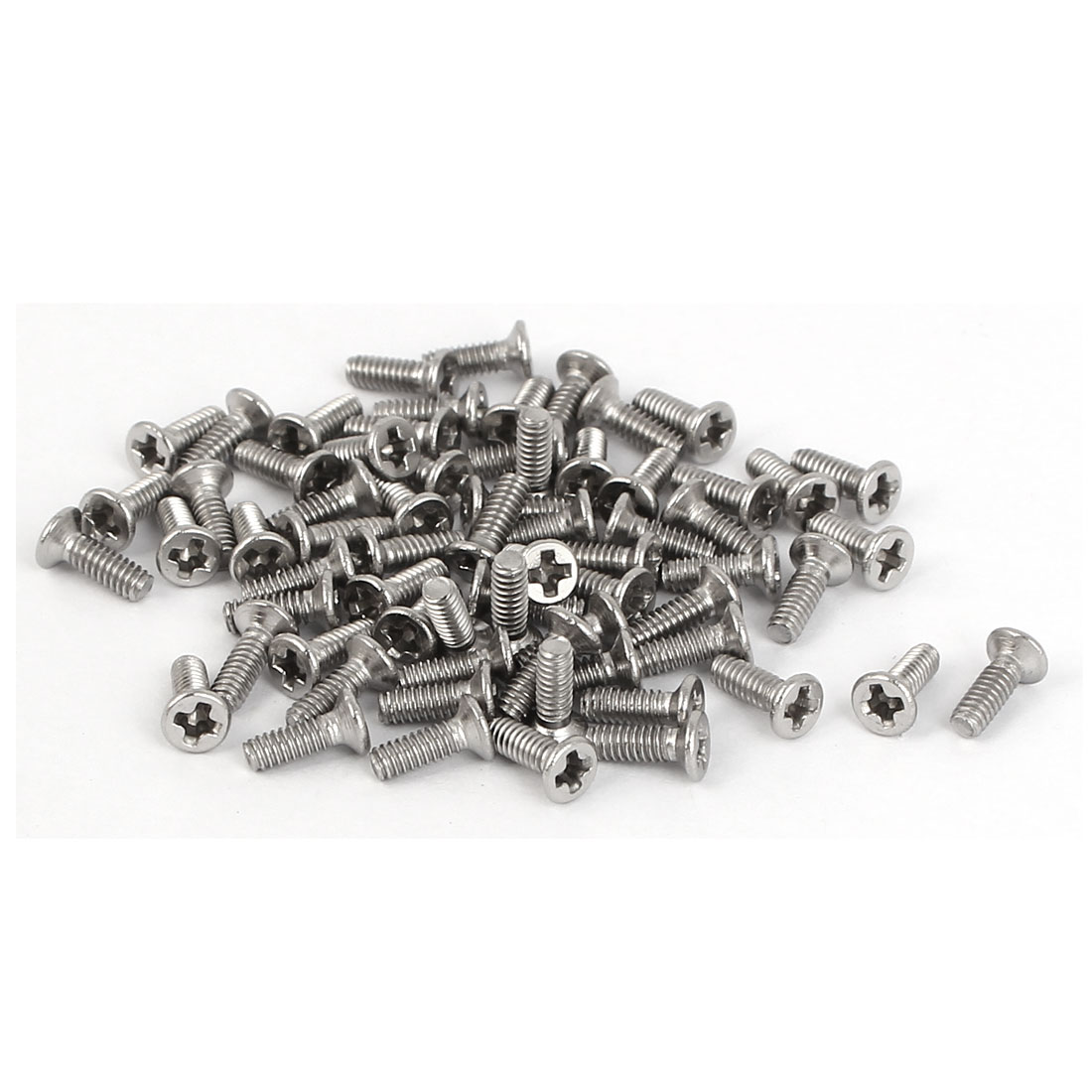 M2 x 6mm 316 Stainless Steel Phillips Drive Flat Head Screws Bolts 75 Pcs